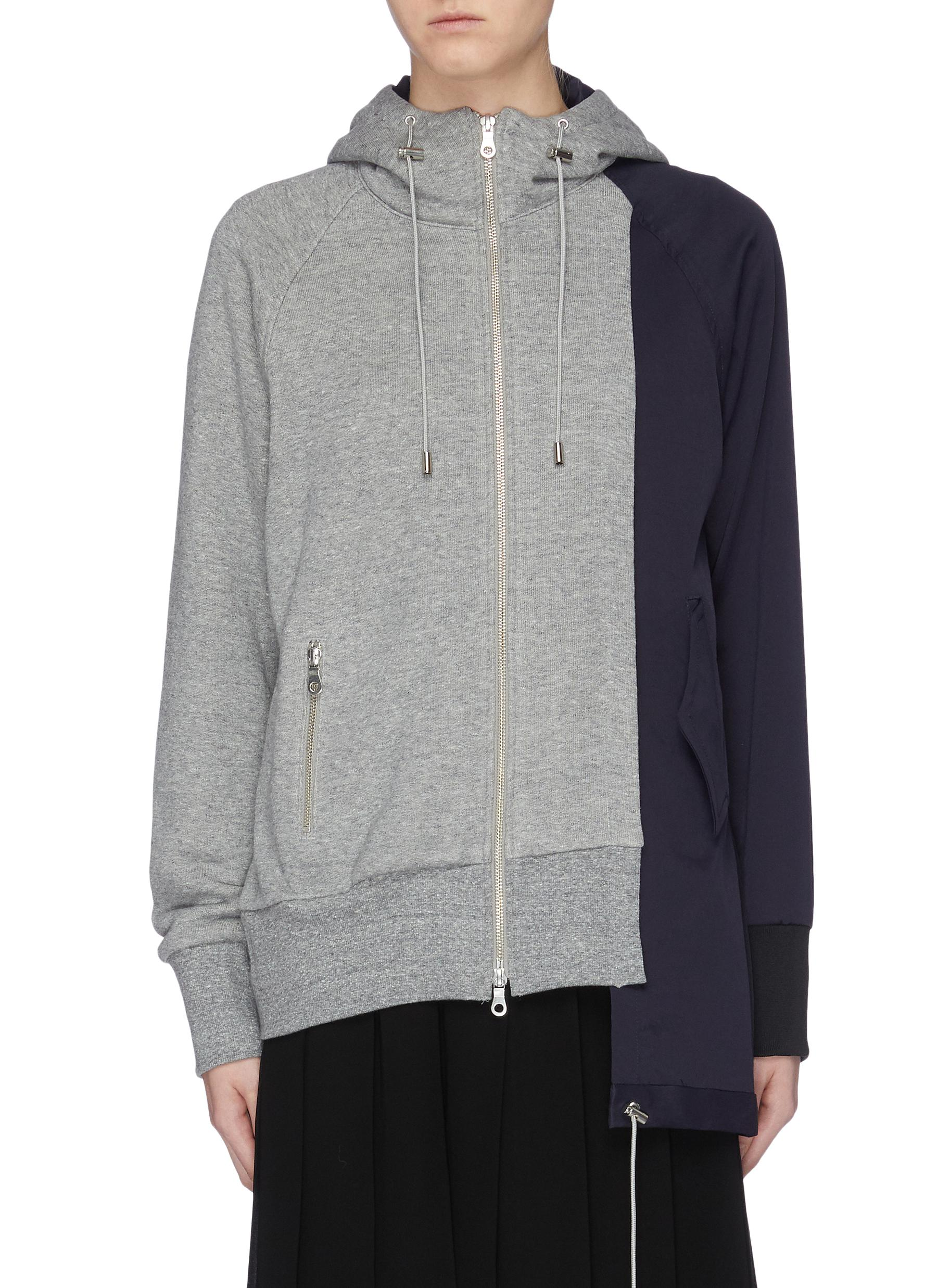Colourblock staggered sleeve zip hoodie by The Keiji