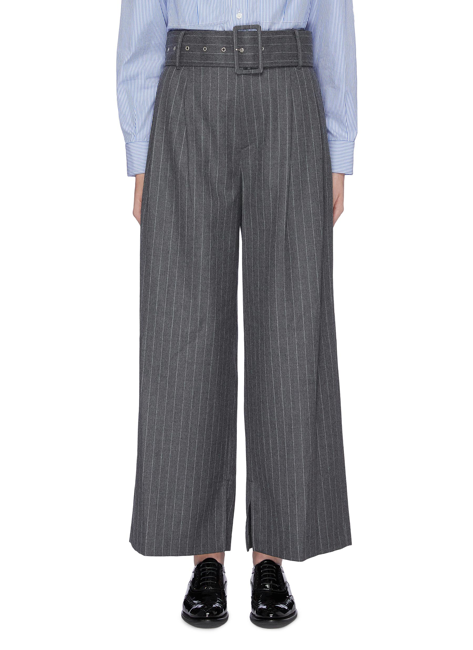 Belted pinstripe wide leg pants by The Keiji