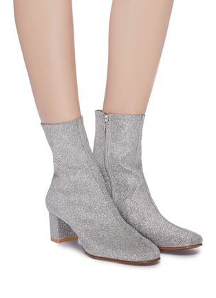 Figure View - Click To Enlarge - BY FAR - 'Sofia' glitter leather ankle boots