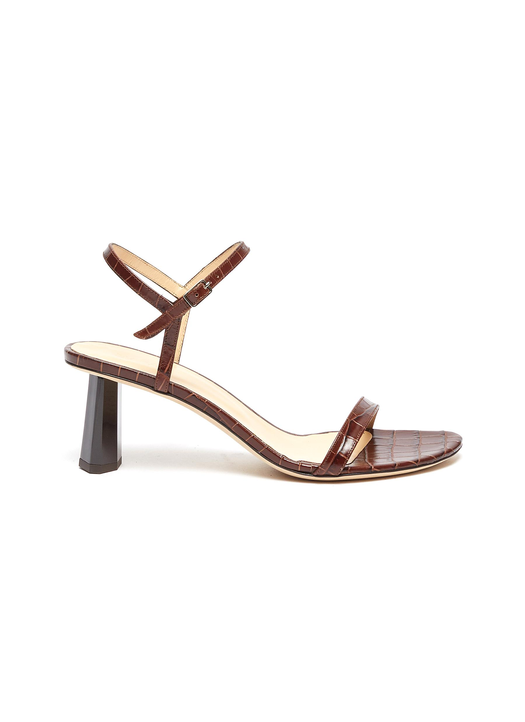 Magnolia ankle strap croc embossed patent leather sandals by By Far