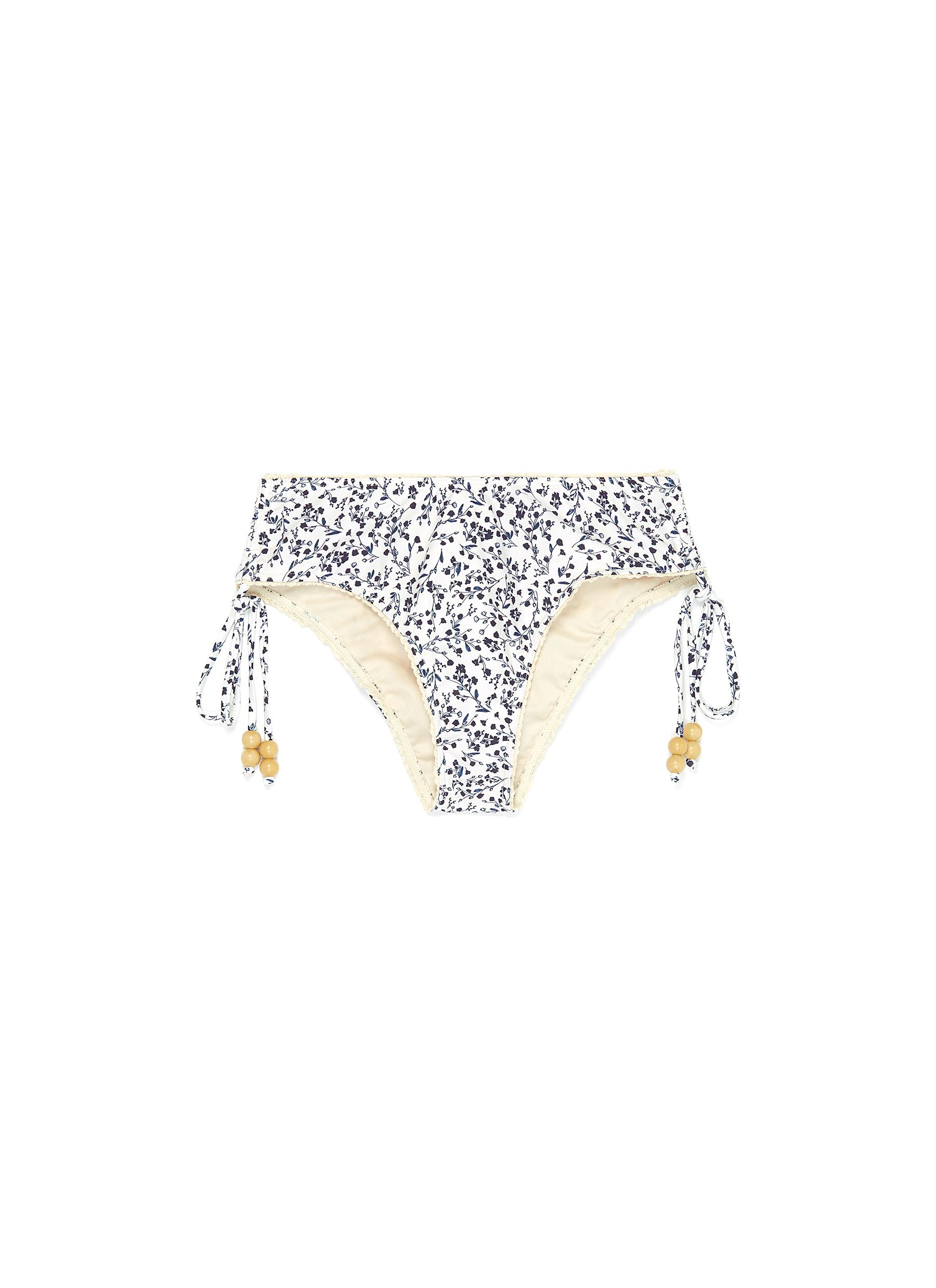 Flora botantical print bead tie Econyl™ bikini bottoms by Peony