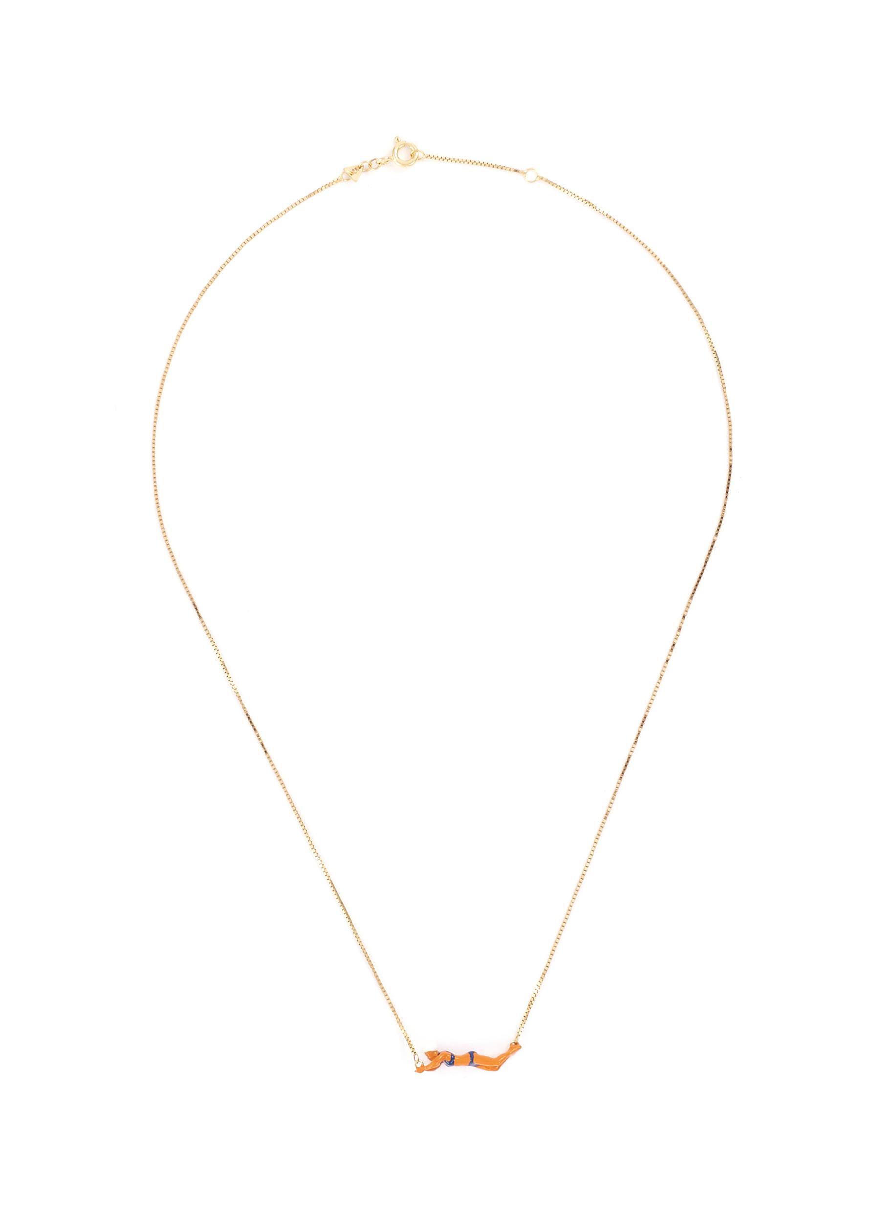 Aliita 'Nadadora Completo' swimmer pendant 9k yellow gold necklace