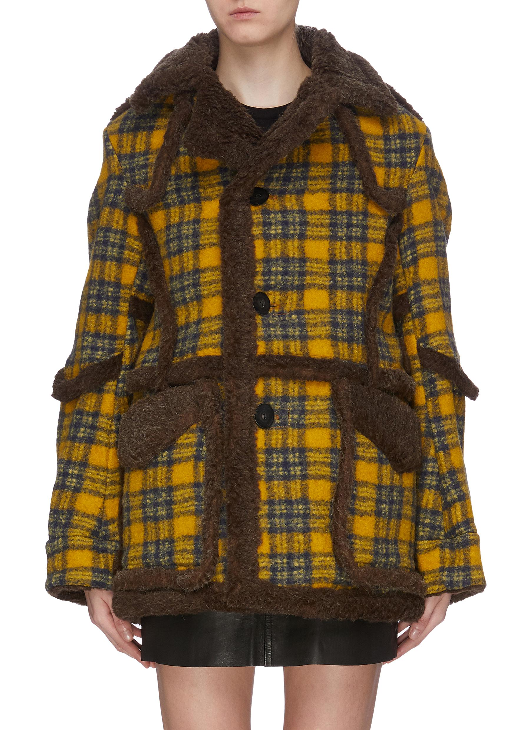 Contrast piping check plaid oversized coat by R13
