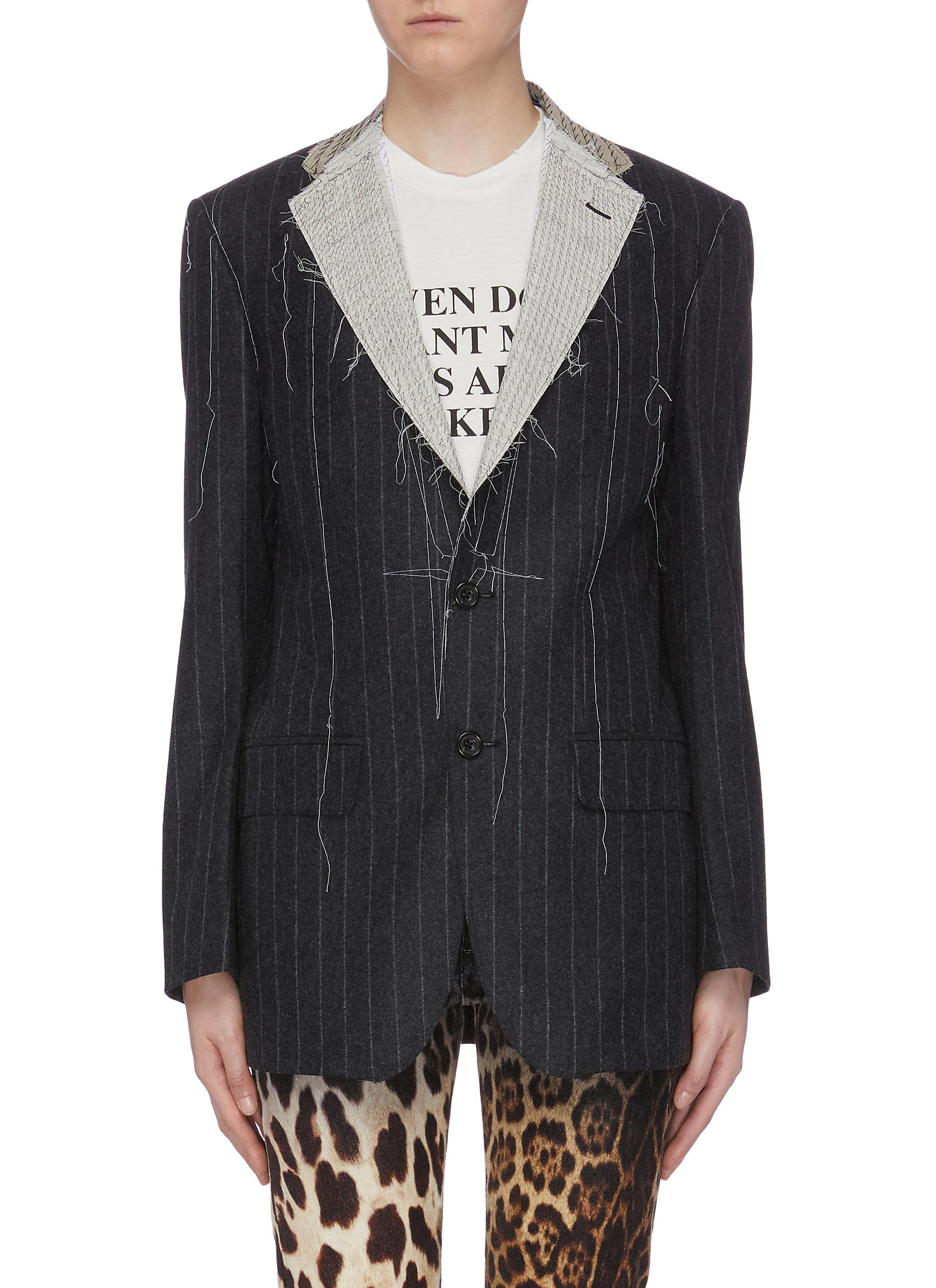 Distressed pinstripe blazer by R13
