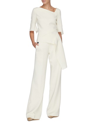 Figure View - Click To Enlarge - ROLAND MOURET - 'Palmetto' button waist wool-crepe pants