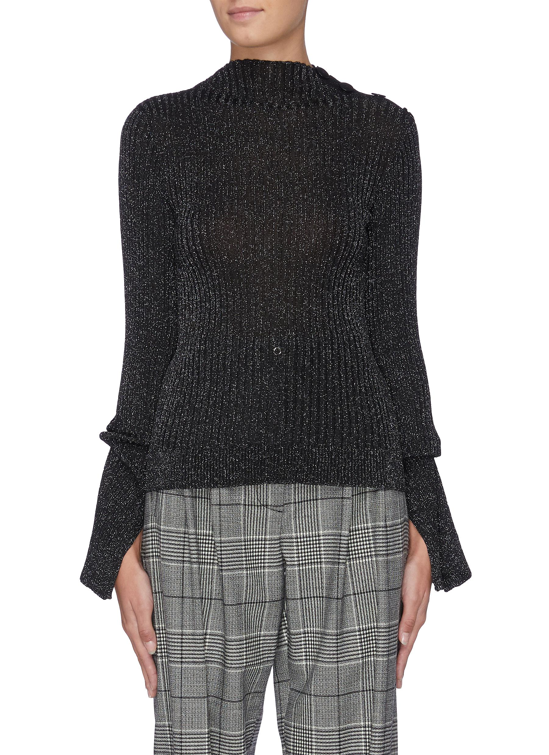 Kiruna split cuff metallic sweater by Roland Mouret