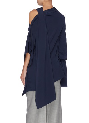 Back View - Click To Enlarge - ROLAND MOURET - 'Condor' cutout shoulder sash drape top