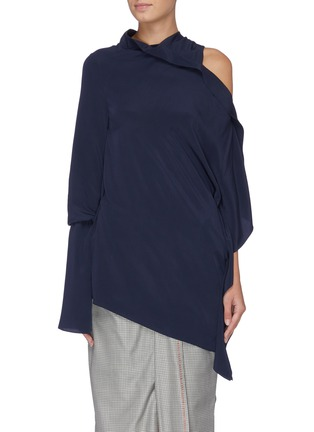 Main View - Click To Enlarge - ROLAND MOURET - 'Condor' cutout shoulder sash drape top