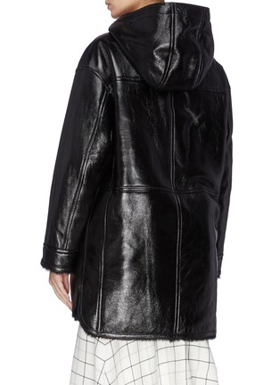 Back View - Click To Enlarge - YVES SALOMON - Shearling lined hooded lambskin leather coat
