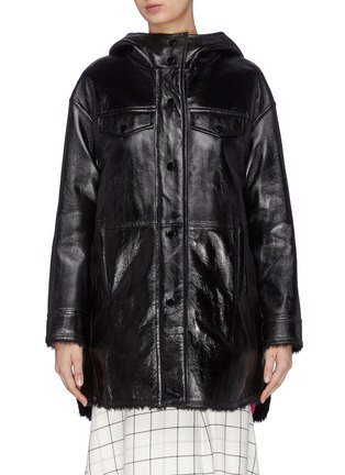 Main View - Click To Enlarge - YVES SALOMON - Shearling lined hooded lambskin leather coat