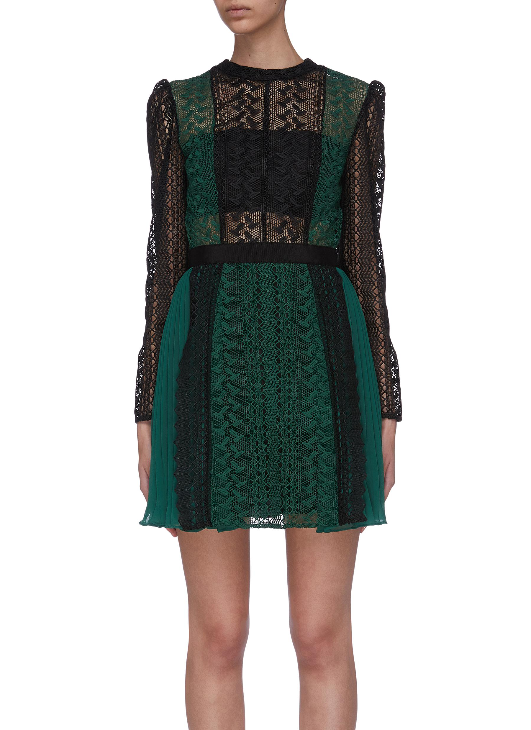 Colourblock lace overlay panelled dress by Self-Portrait