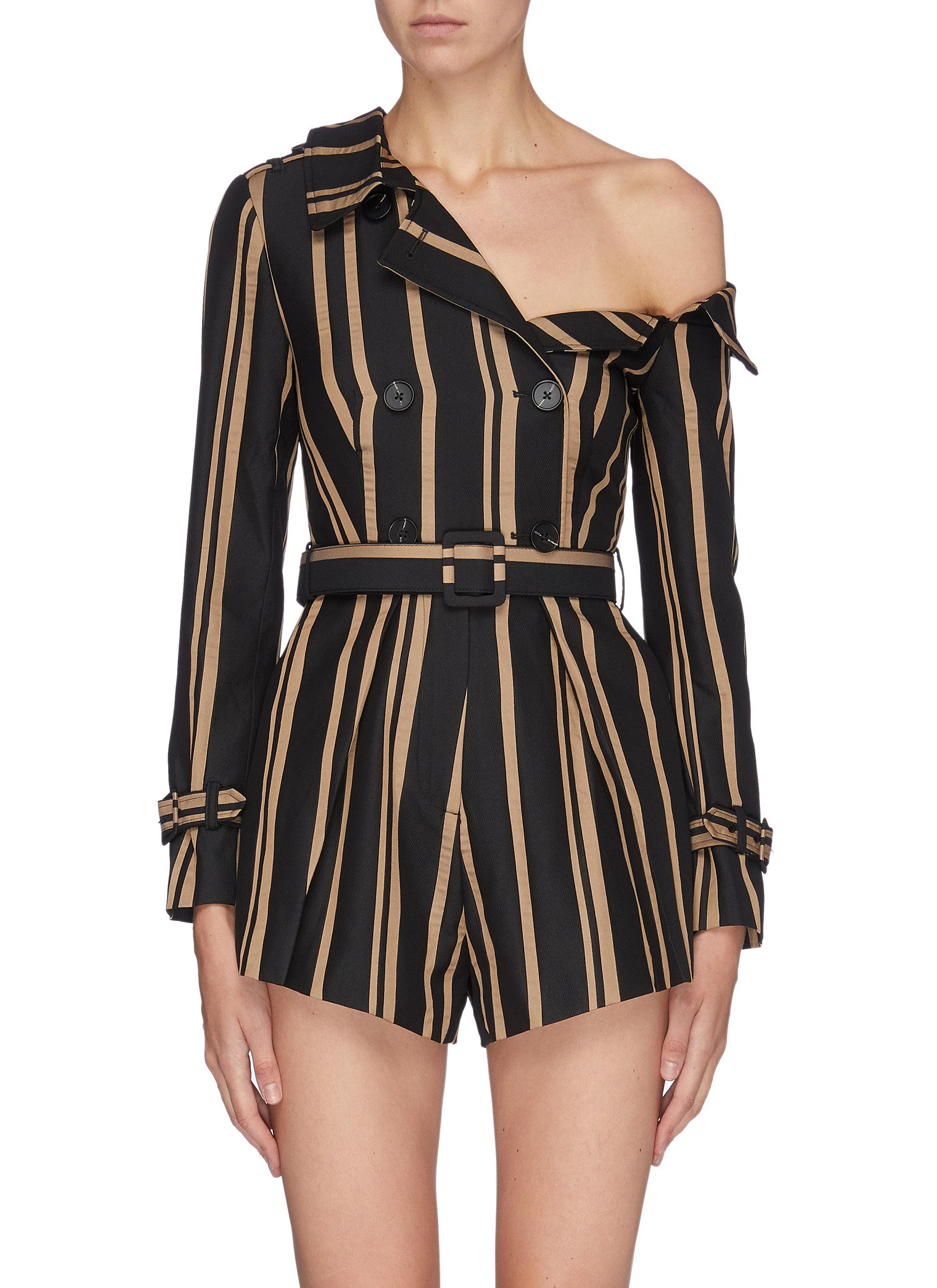 Belted stripe one-shoulder rompers by Self-Portrait