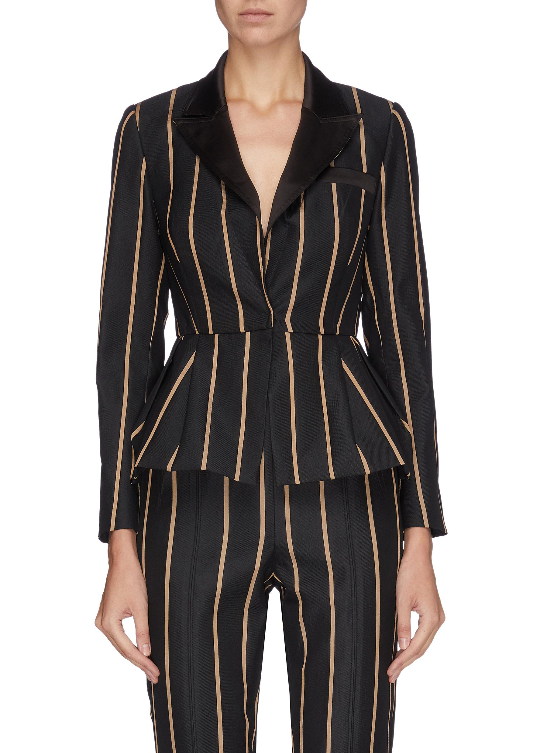 Peaked lapel stripe peplum top by Self-Portrait