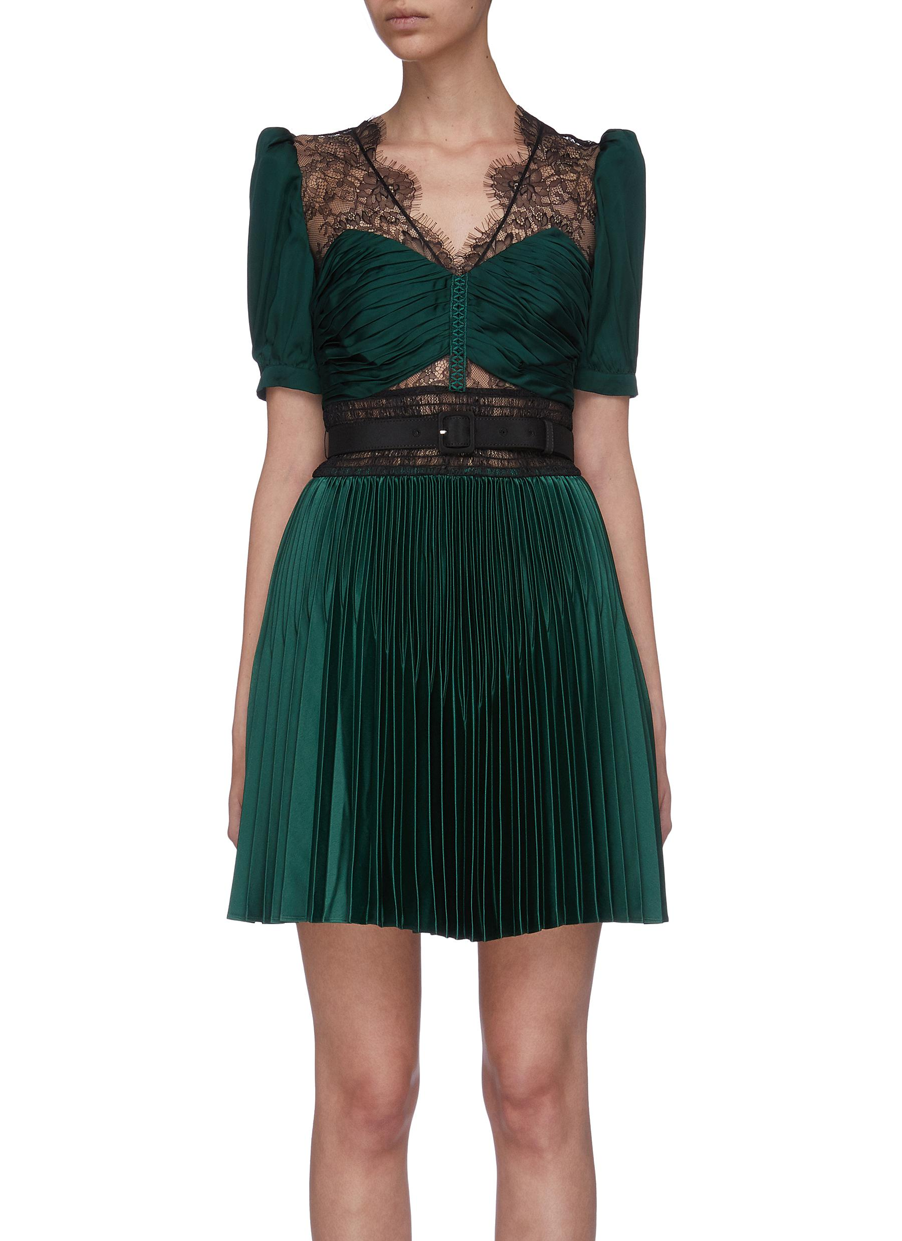 Puff sleeve lace panel pleated hem dress by Self-Portrait