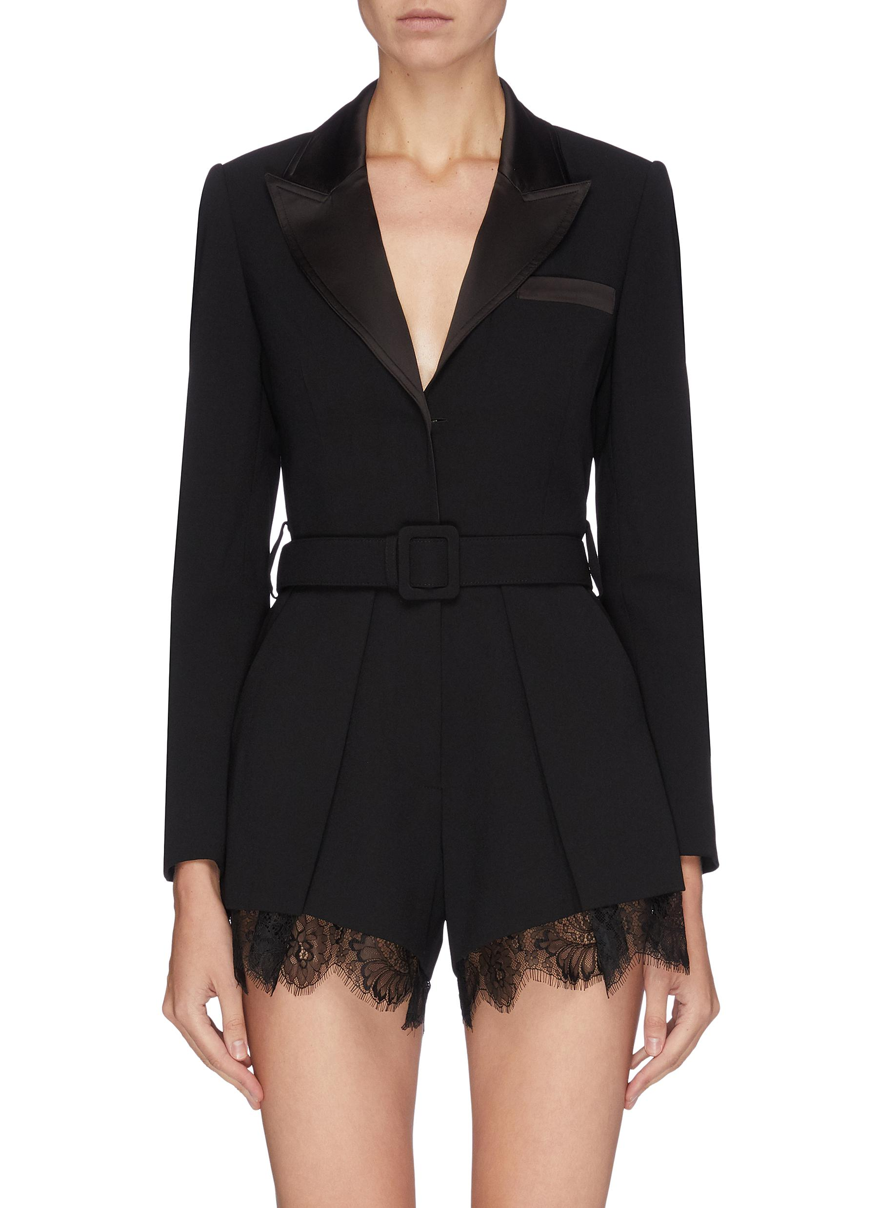Belted lace cuff crepe rompers by Self-Portrait