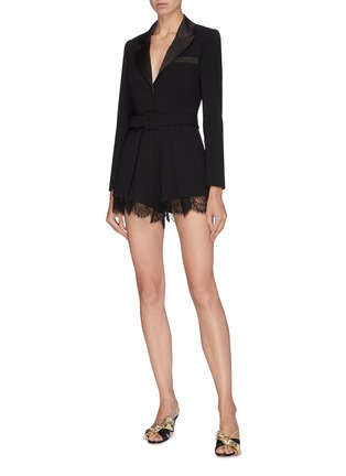 Figure View - Click To Enlarge - SELF-PORTRAIT - Belted lace cuff crepe rompers
