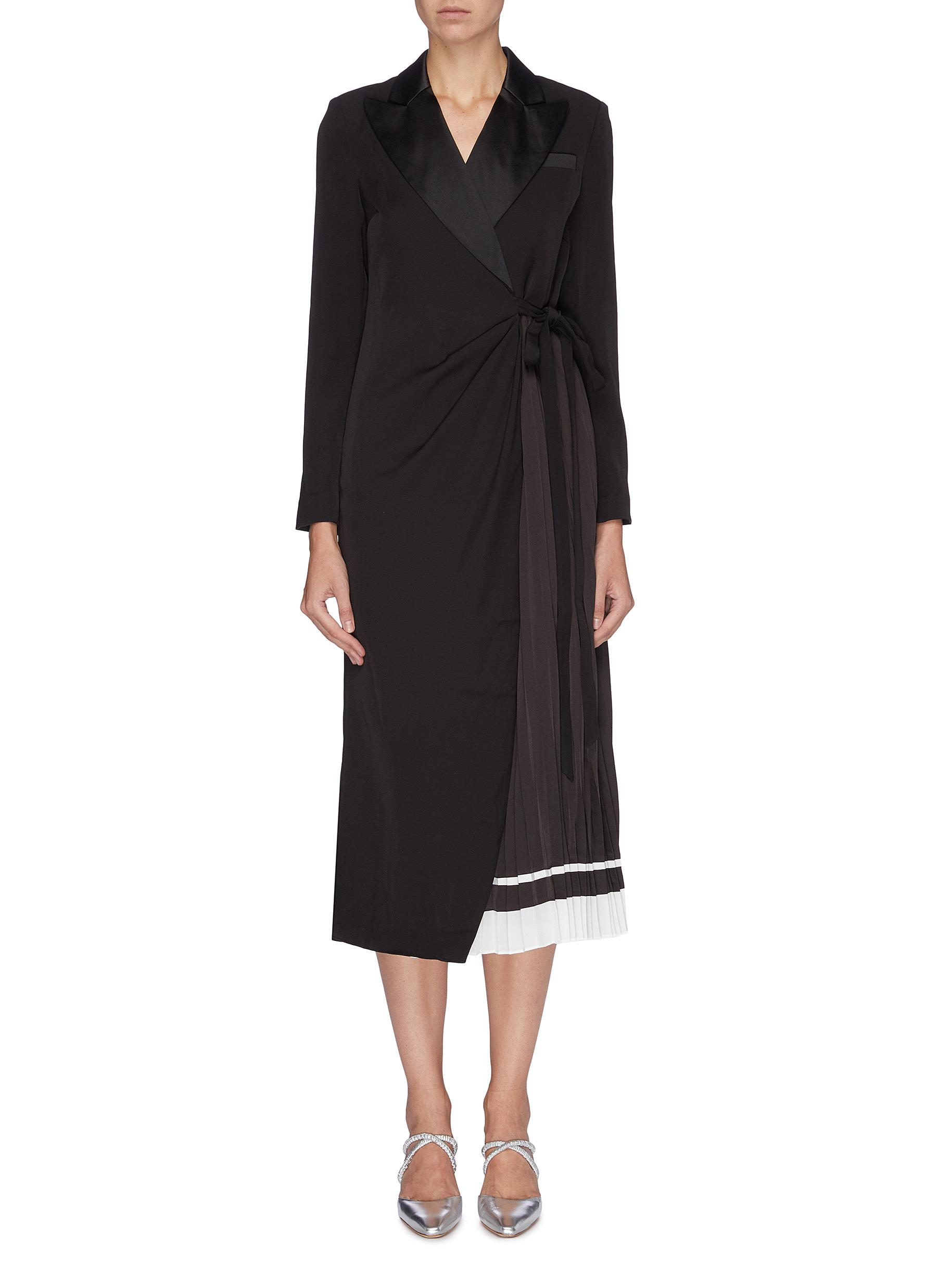 Peaked lapel pleated underlay crepe wrap dress by Self-Portrait