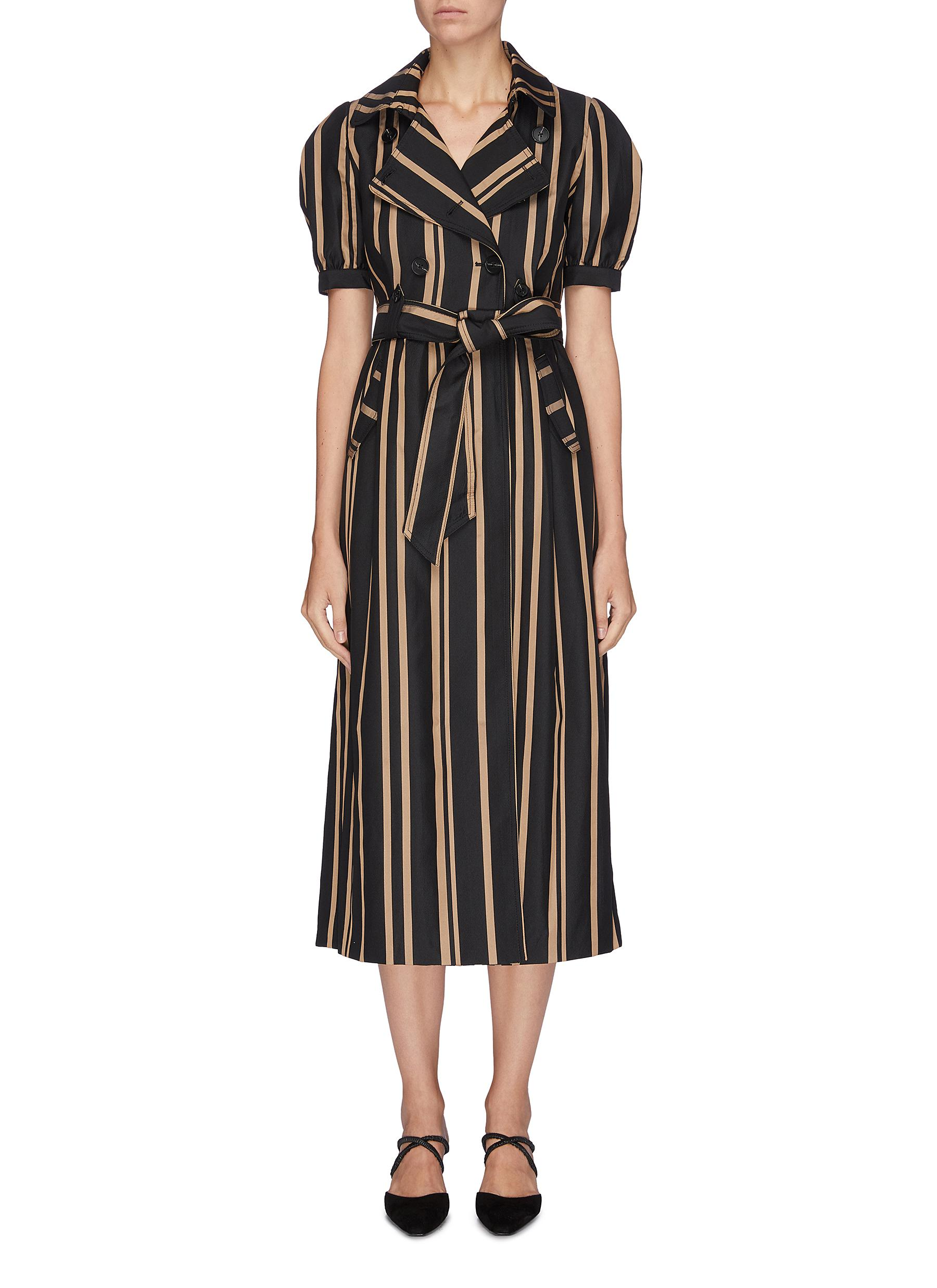Belted puff sleeve stripe trench dress by Self-Portrait