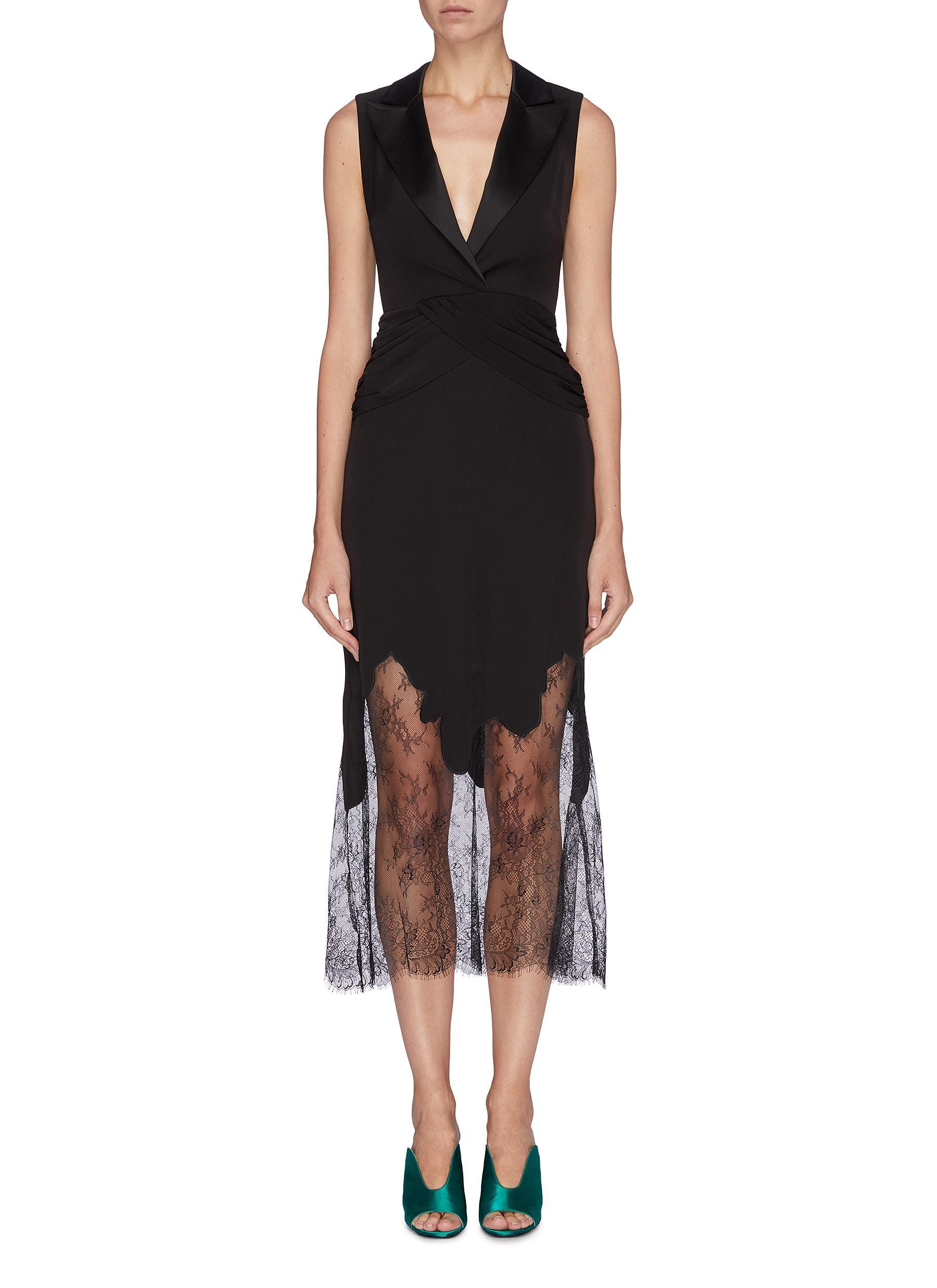 Crossover waist lace hem sleeveless dress by Self-Portrait