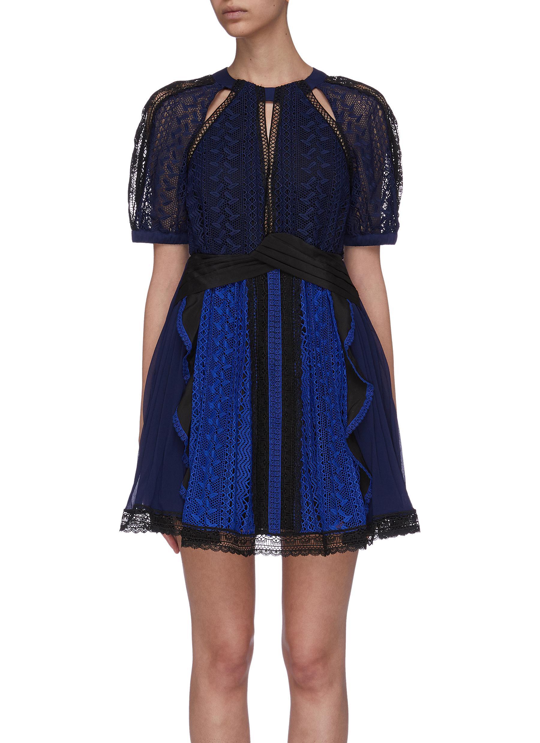 Puff sleeve ruffle lace dress by Self-Portrait