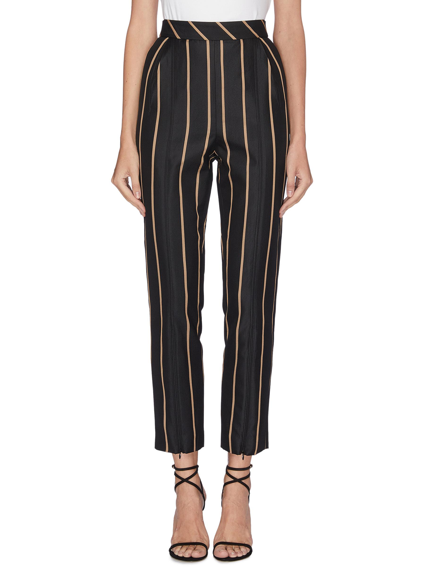Zip cuff stripe pants by Self-Portrait