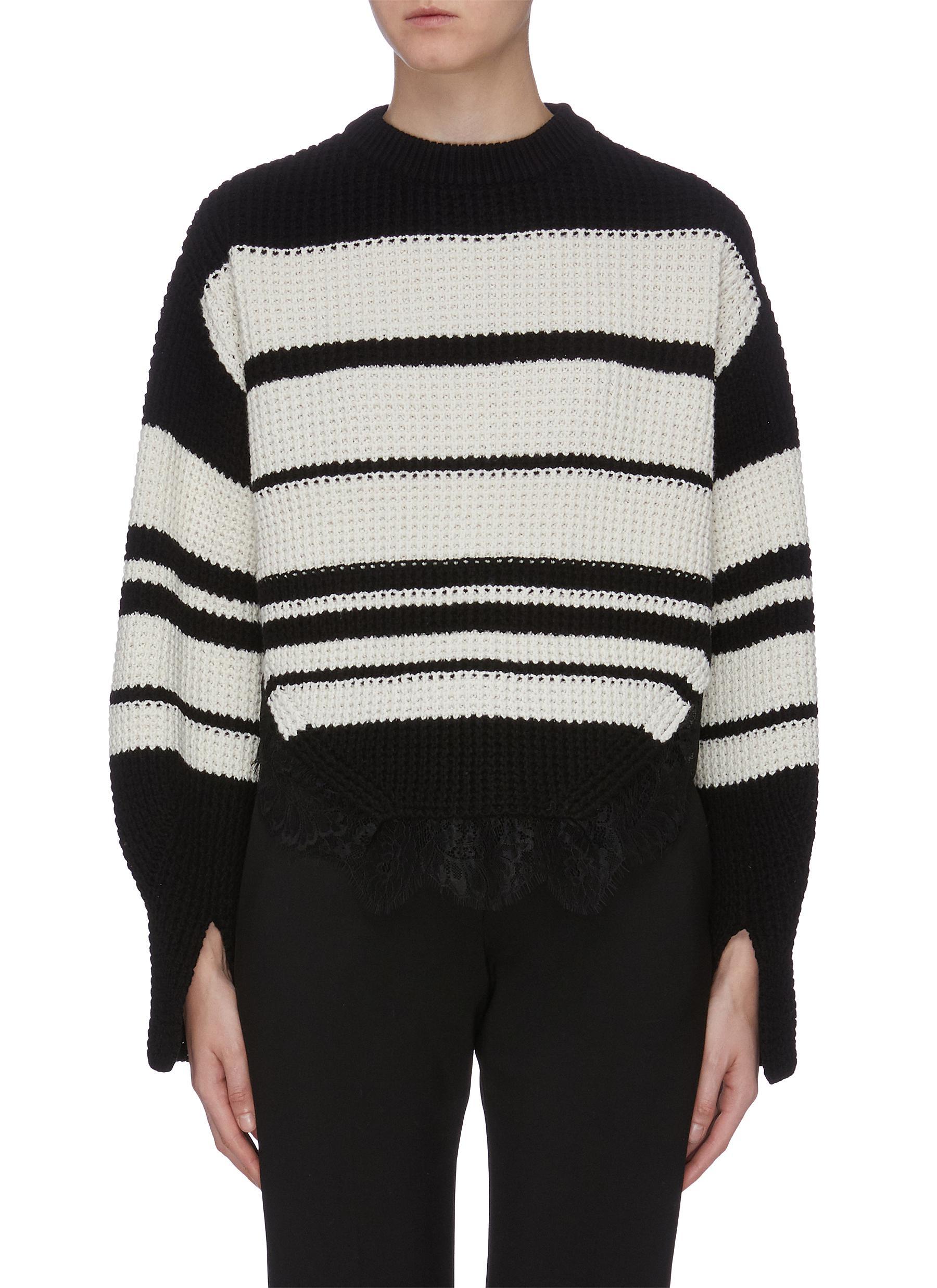 Lace hem stripe waffle knit oversized sweater by Self-Portrait