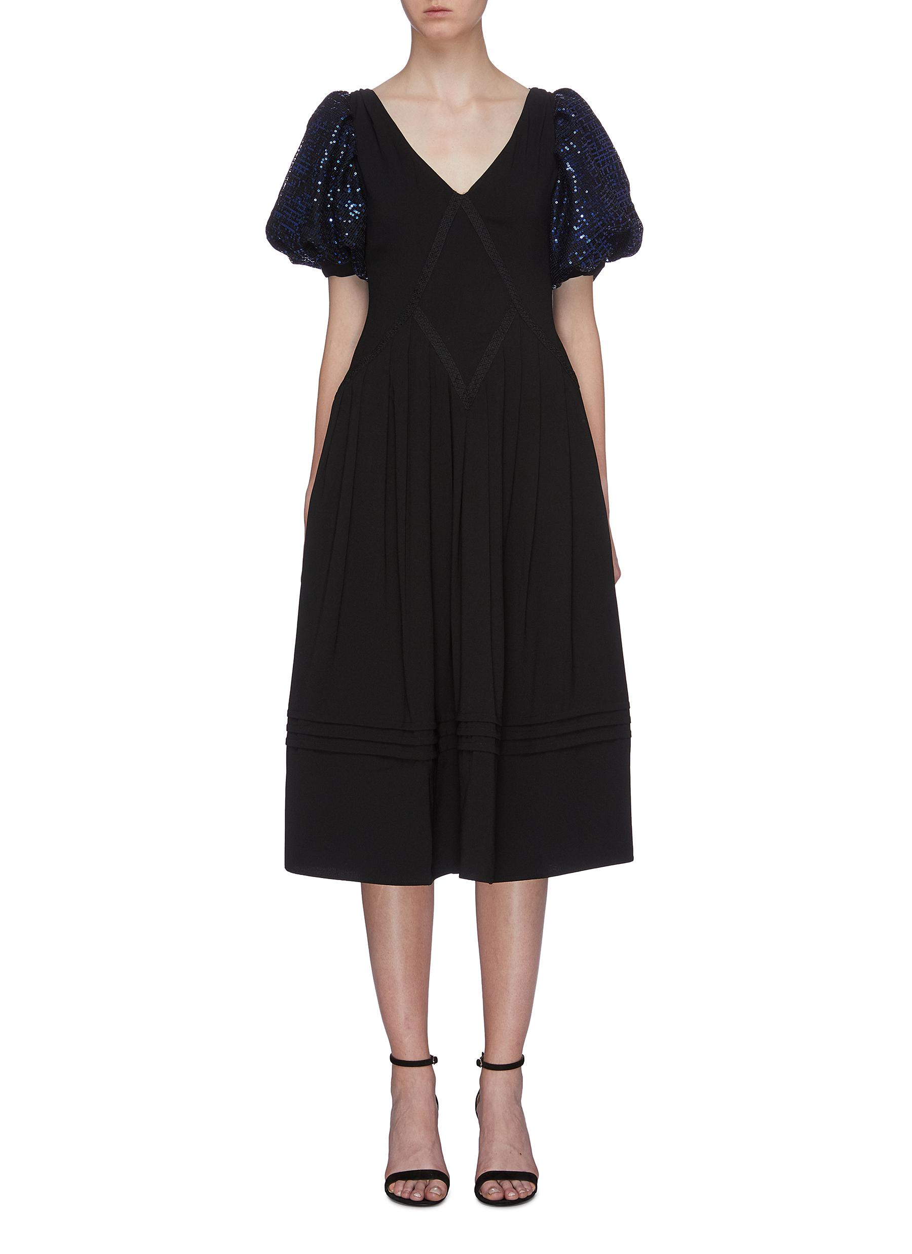Sequin check puff sleeve crepe dress by Self-Portrait