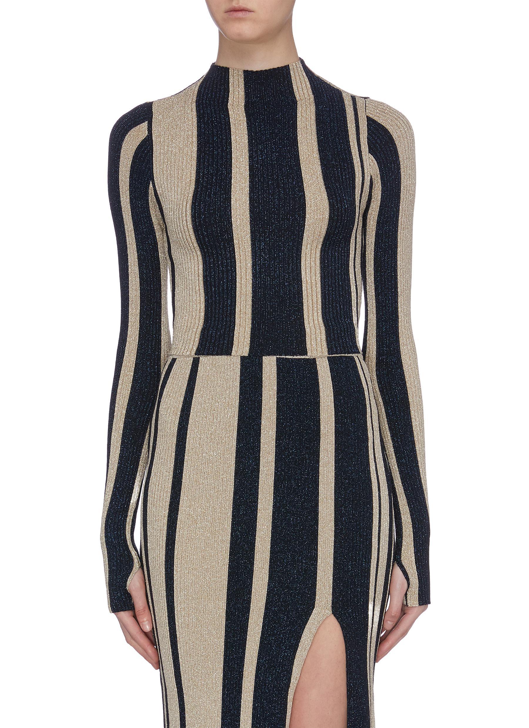 Metallic stripe cropped mock neck sweater by Self-Portrait