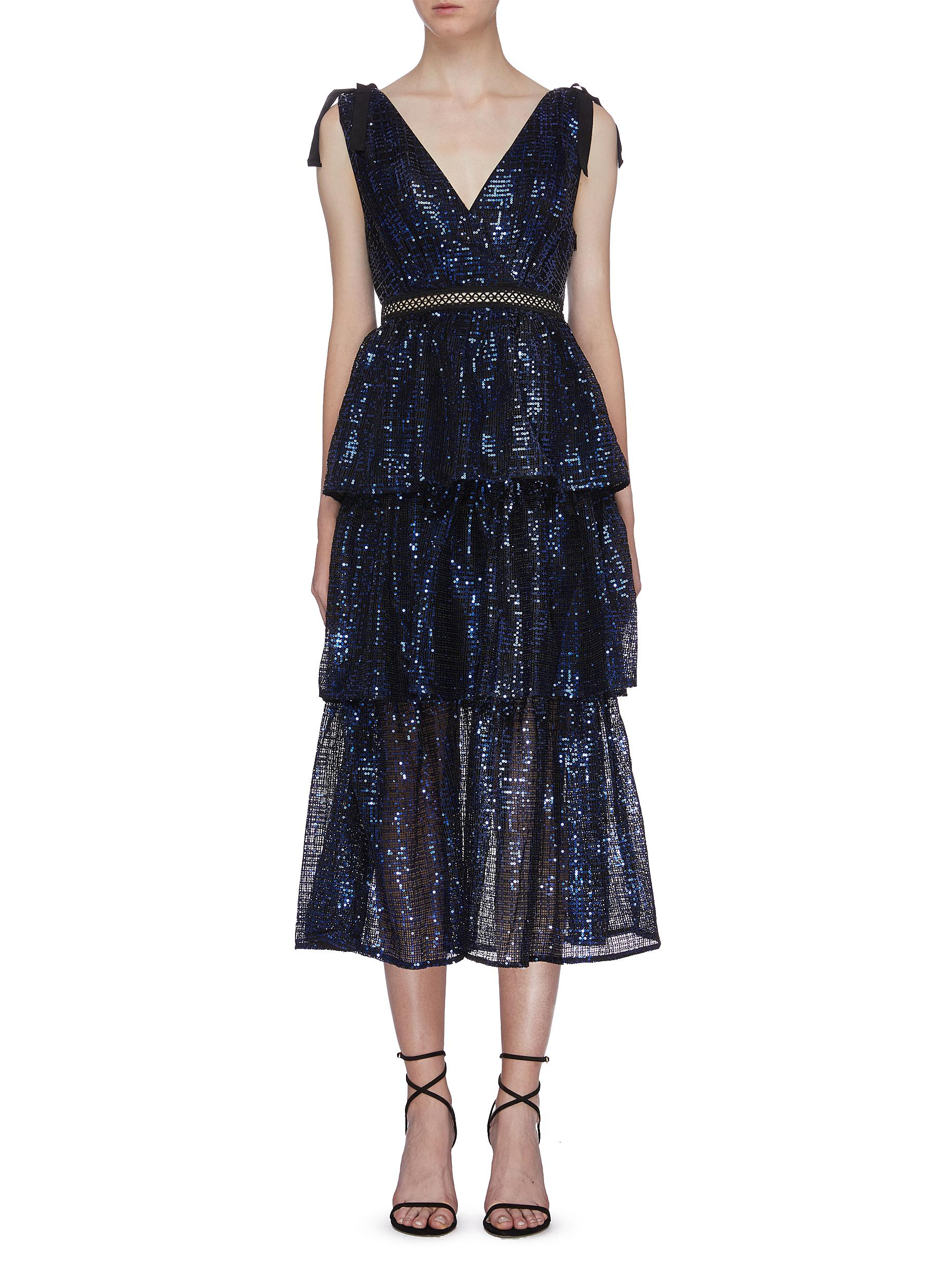 Sequin check tiered V-neck dress by Self-Portrait