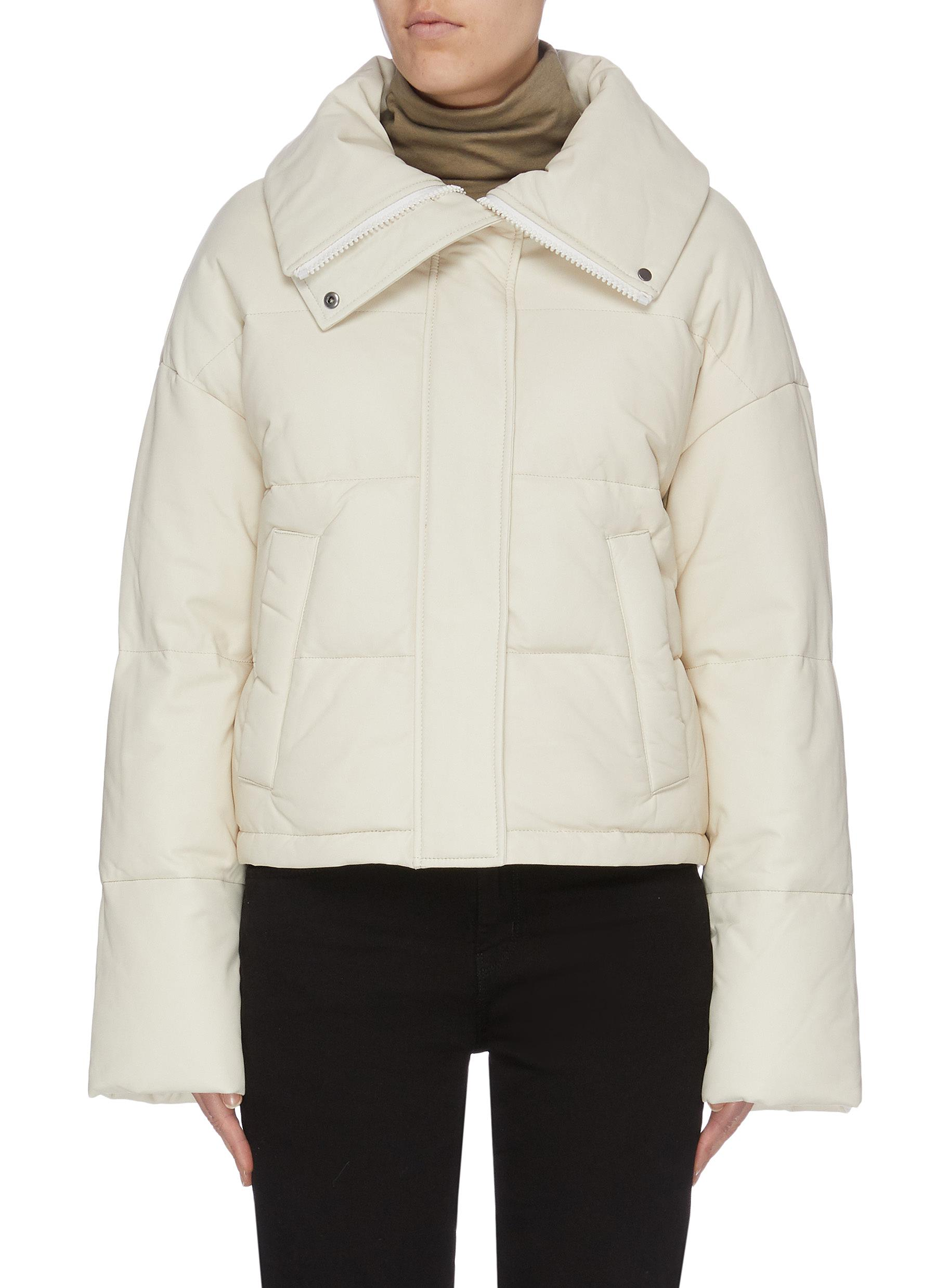 Lambskin leather nylon puffer jacket by Army By Yves Salomon