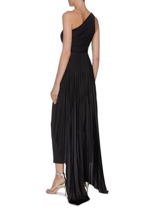 Back View - Click To Enlarge - SOLACE LONDON - 'Winnie' plissé pleated one-shoulder panelled drape jumpsuit
