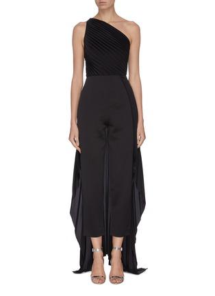 Main View - Click To Enlarge - SOLACE LONDON - 'Winnie' plissé pleated one-shoulder panelled drape jumpsuit