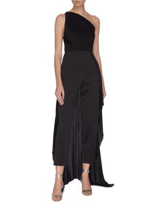 Figure View - Click To Enlarge - SOLACE LONDON - 'Winnie' plissé pleated one-shoulder panelled drape jumpsuit