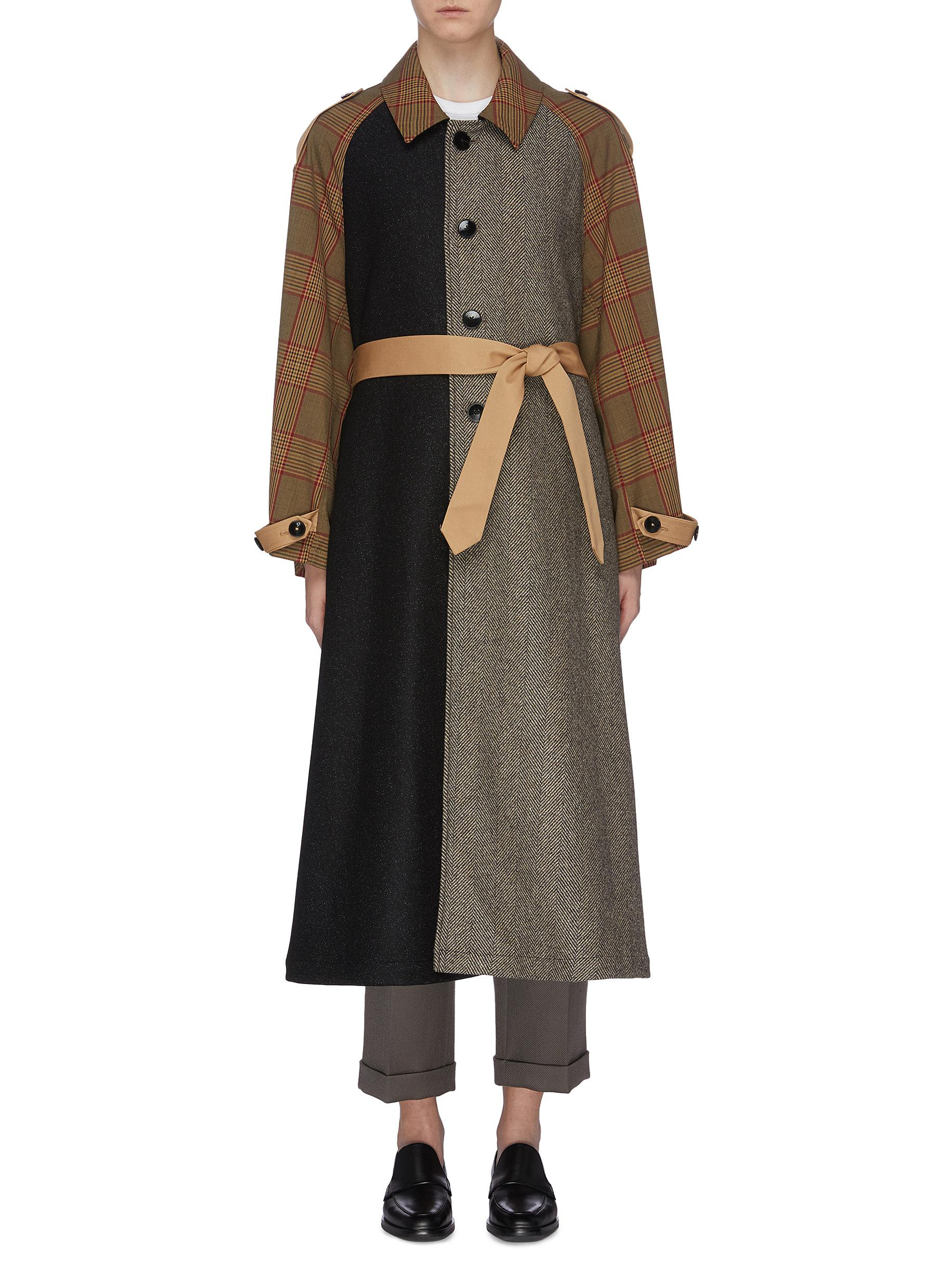 Vaghezza belted patchwork colourblock coat by Barena