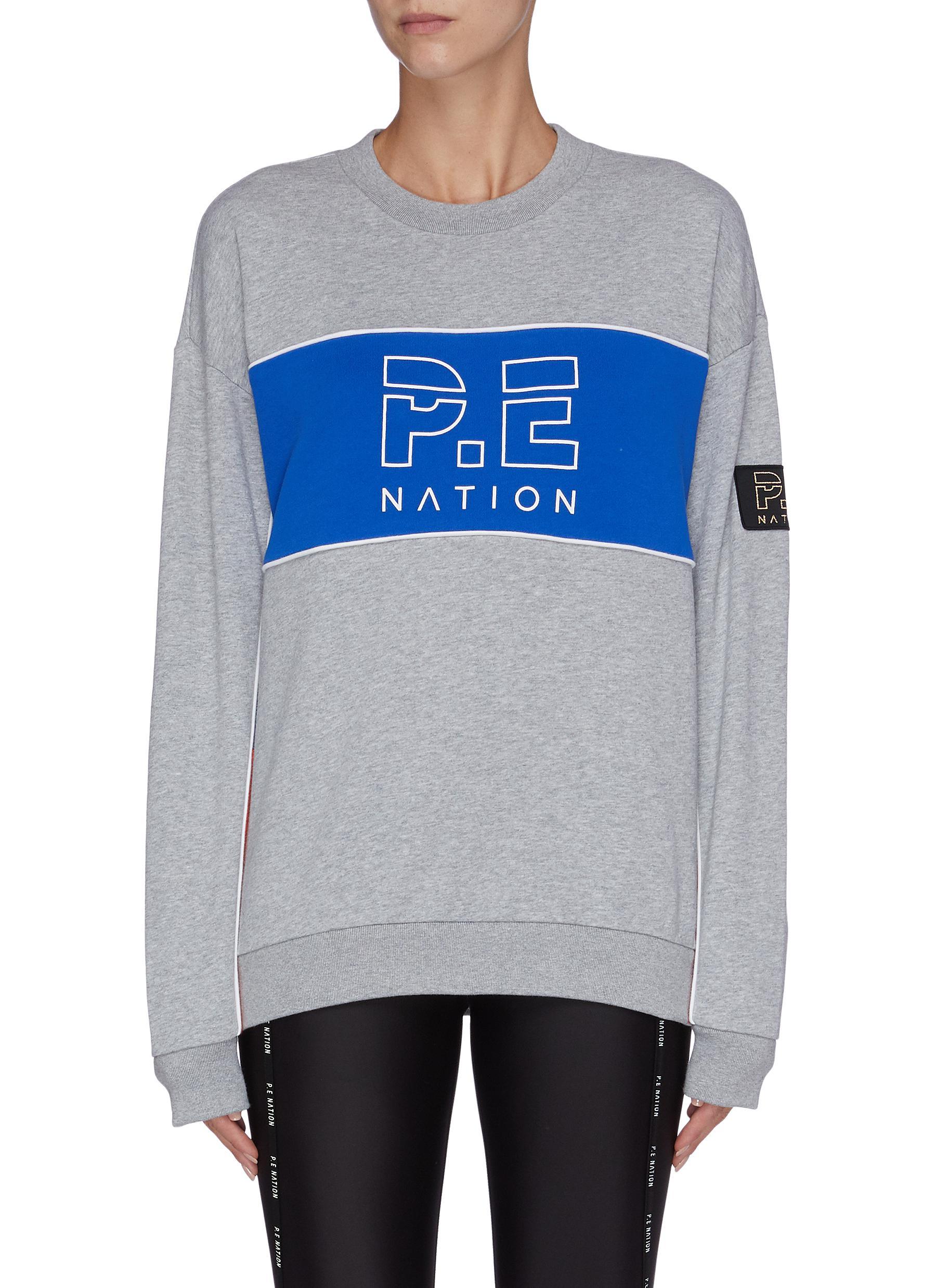 Sonic Boom logo print colourblock panel sweatshirt by P.E Nation