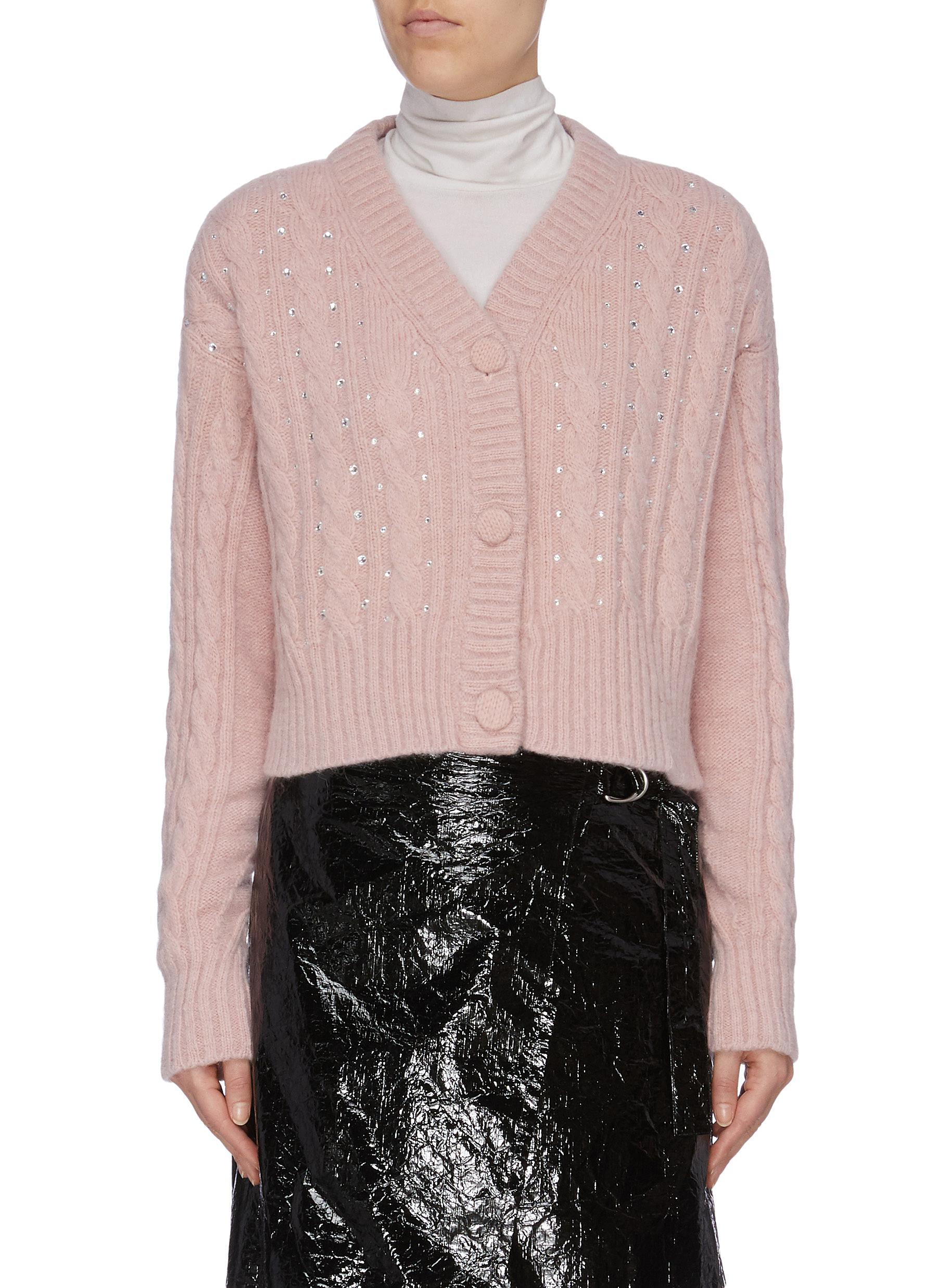 Strass cropped cable knit cardigan by Philosophy Di Lorenzo Serafini