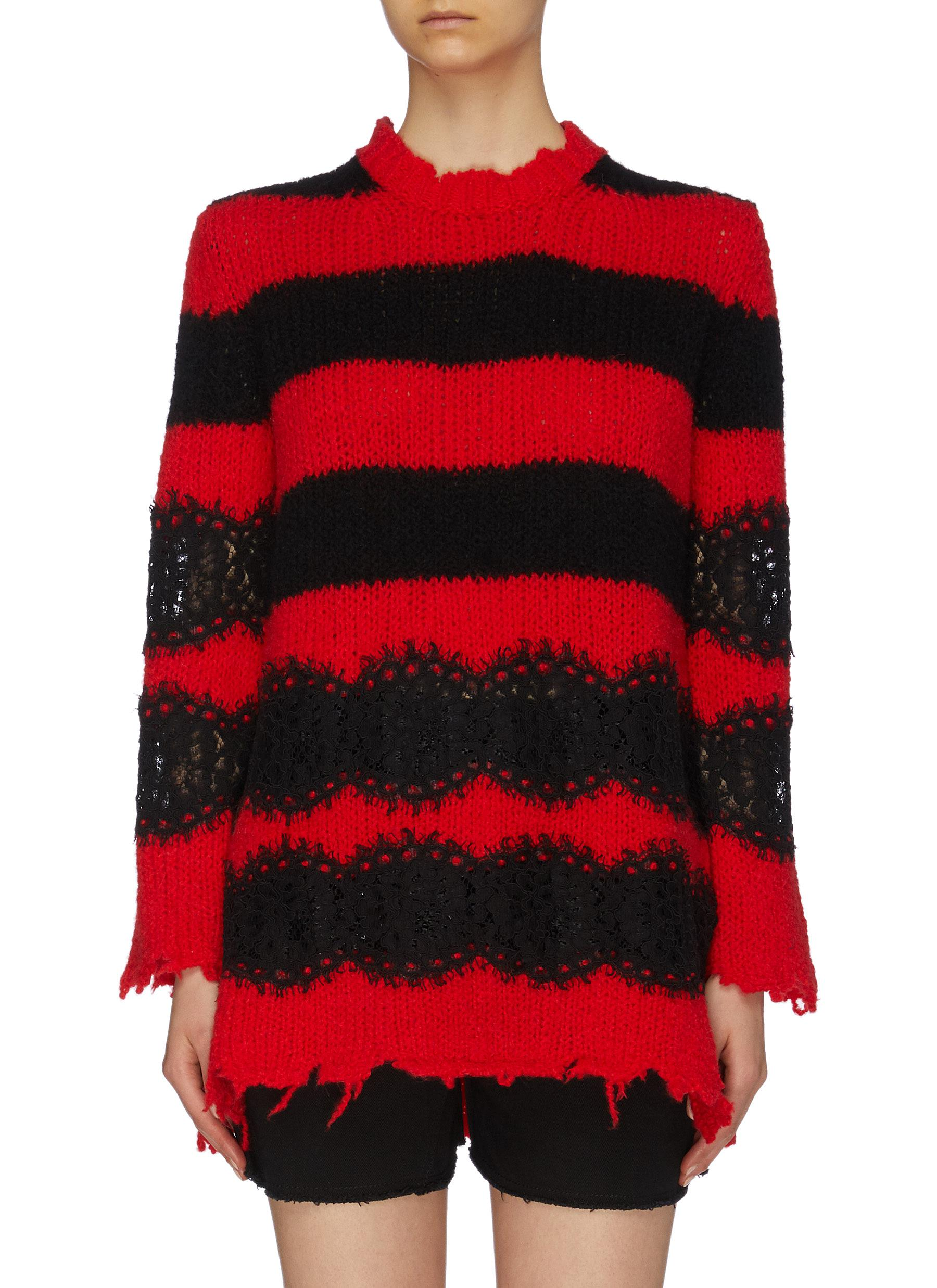 Scalloped lace panel stripe distressed wool-alpaca sweater by Philosophy Di Lorenzo Serafini