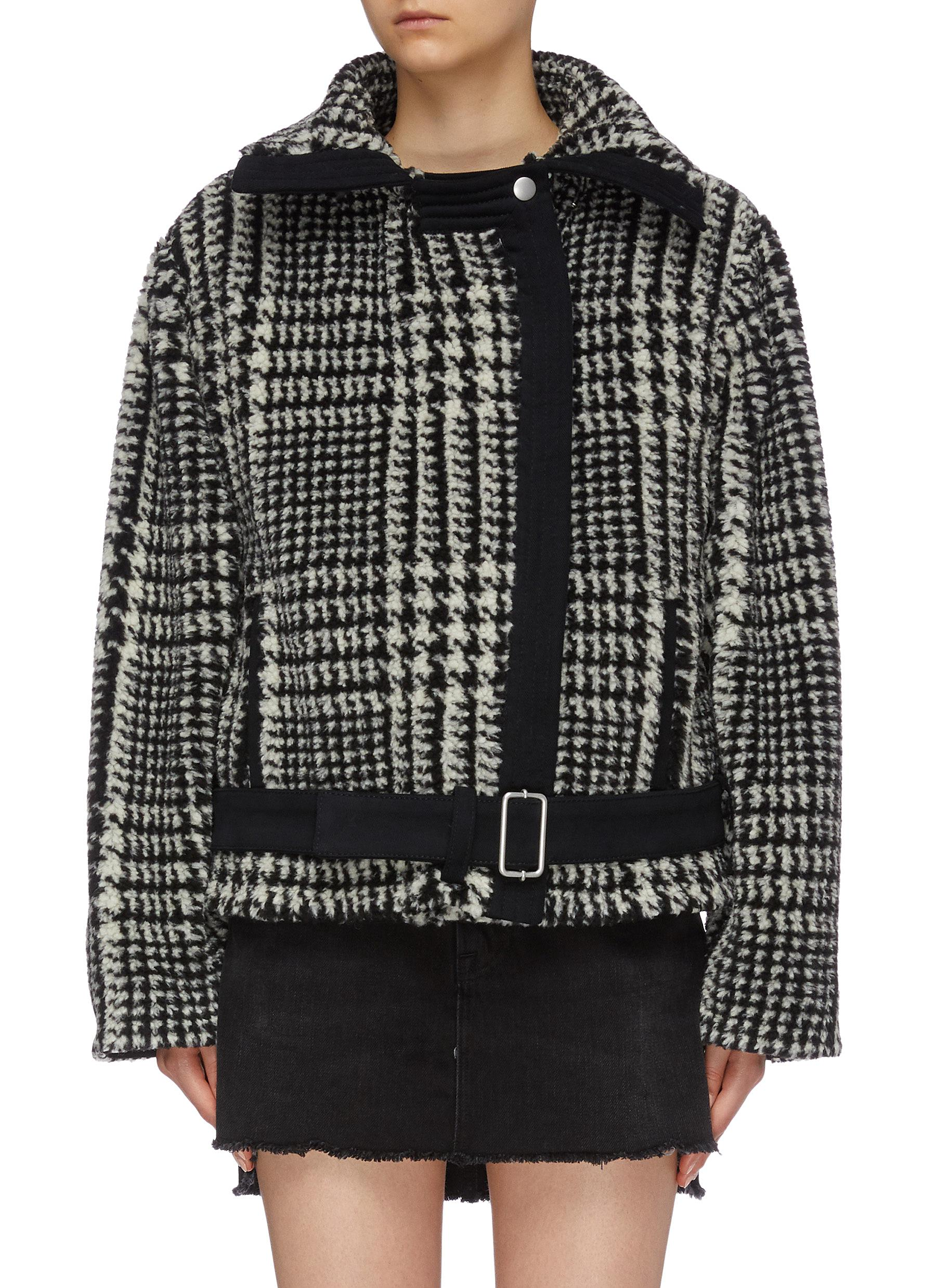 Houndstooth check plaid padded faux fur jacket by Philosophy Di Lorenzo Serafini