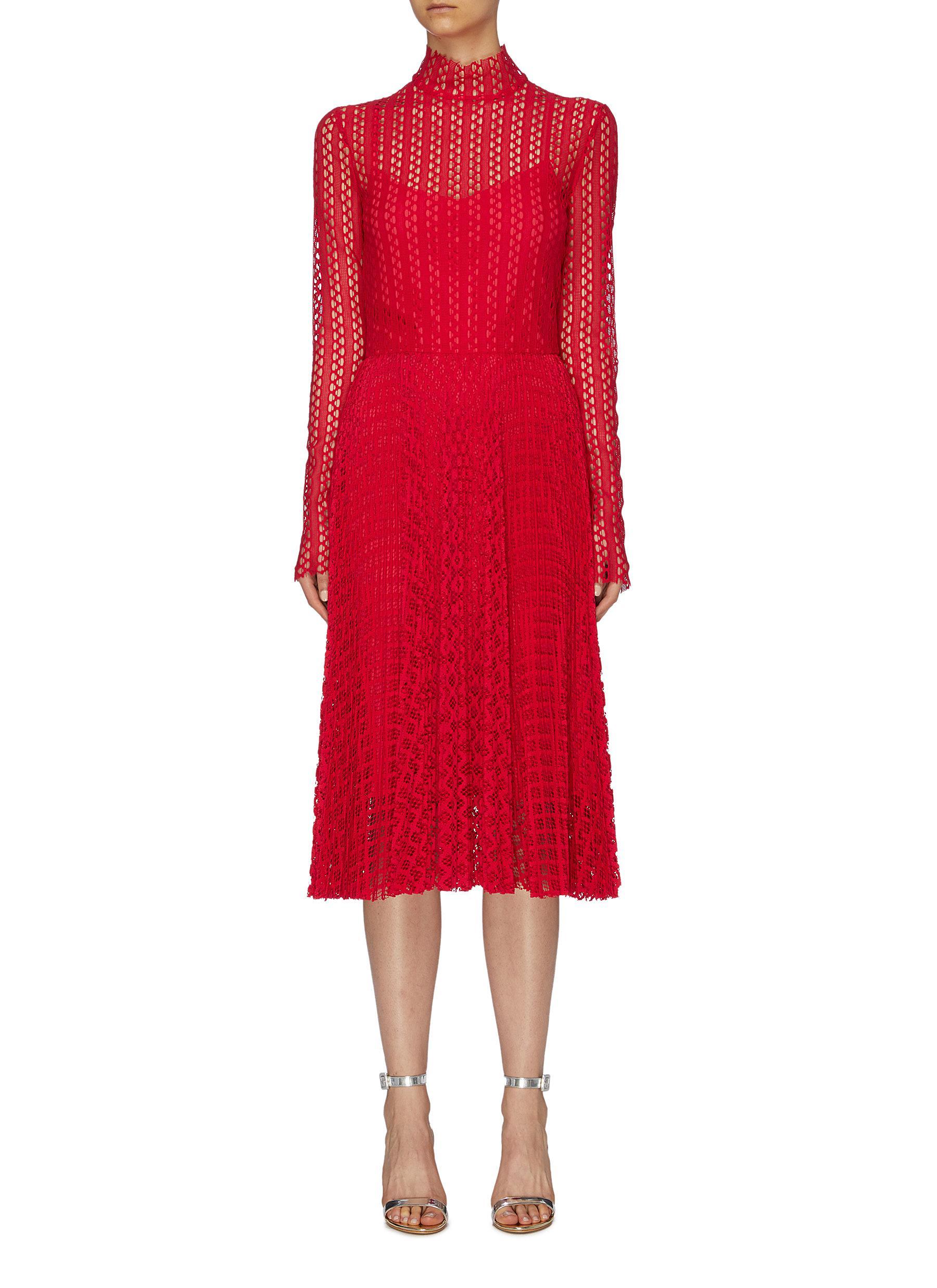 Pleated geometric lace high neck dress by Philosophy Di Lorenzo Serafini