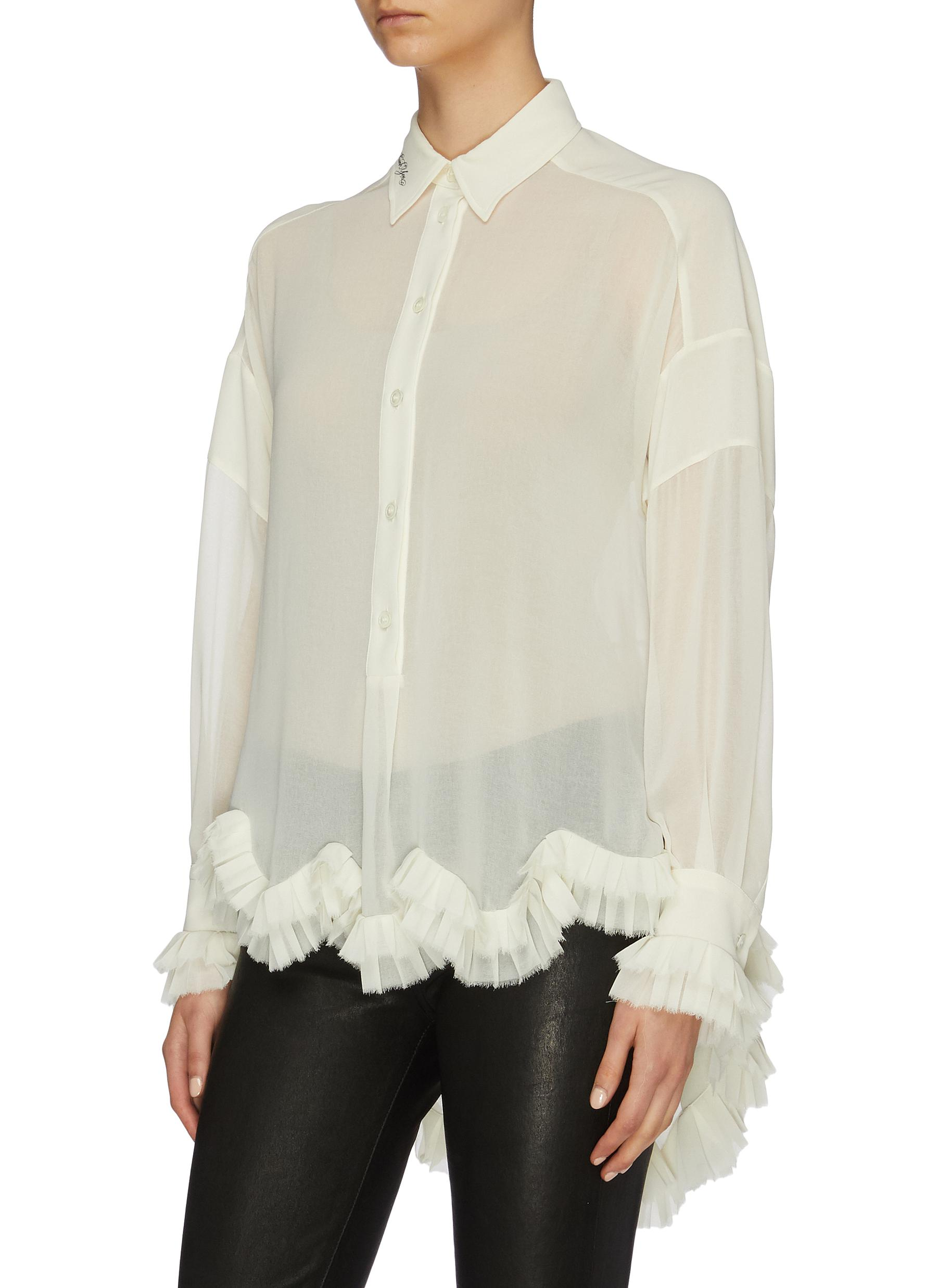 Belted scalloped ruffle hem georgette high-low shirt by Philosophy Di Lorenzo Serafini