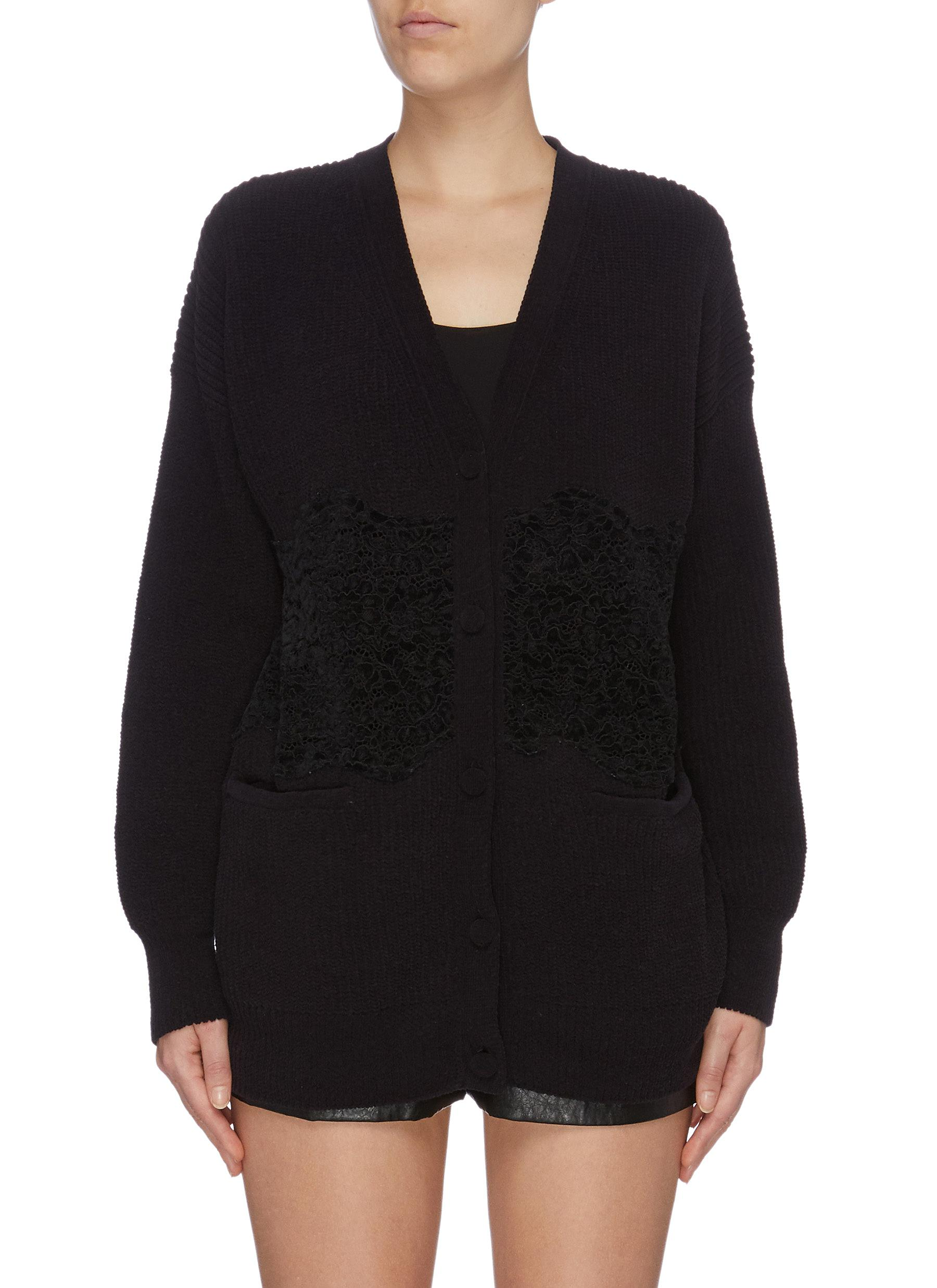 Floral lace panel chenille cardigan by Philosophy Di Lorenzo Serafini