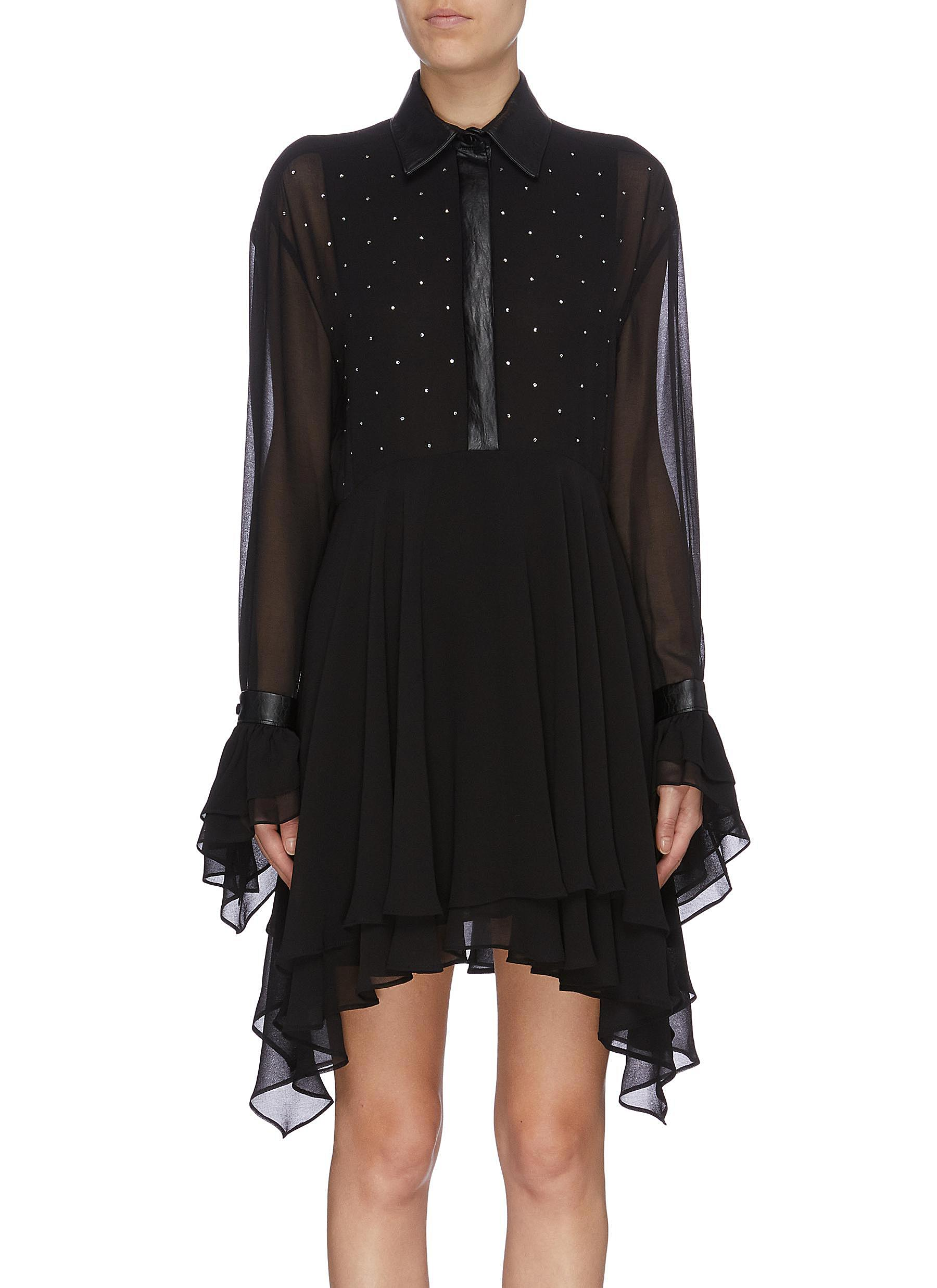 Strass embellished flared tiered georgette shirt dress by Philosophy Di Lorenzo Serafini