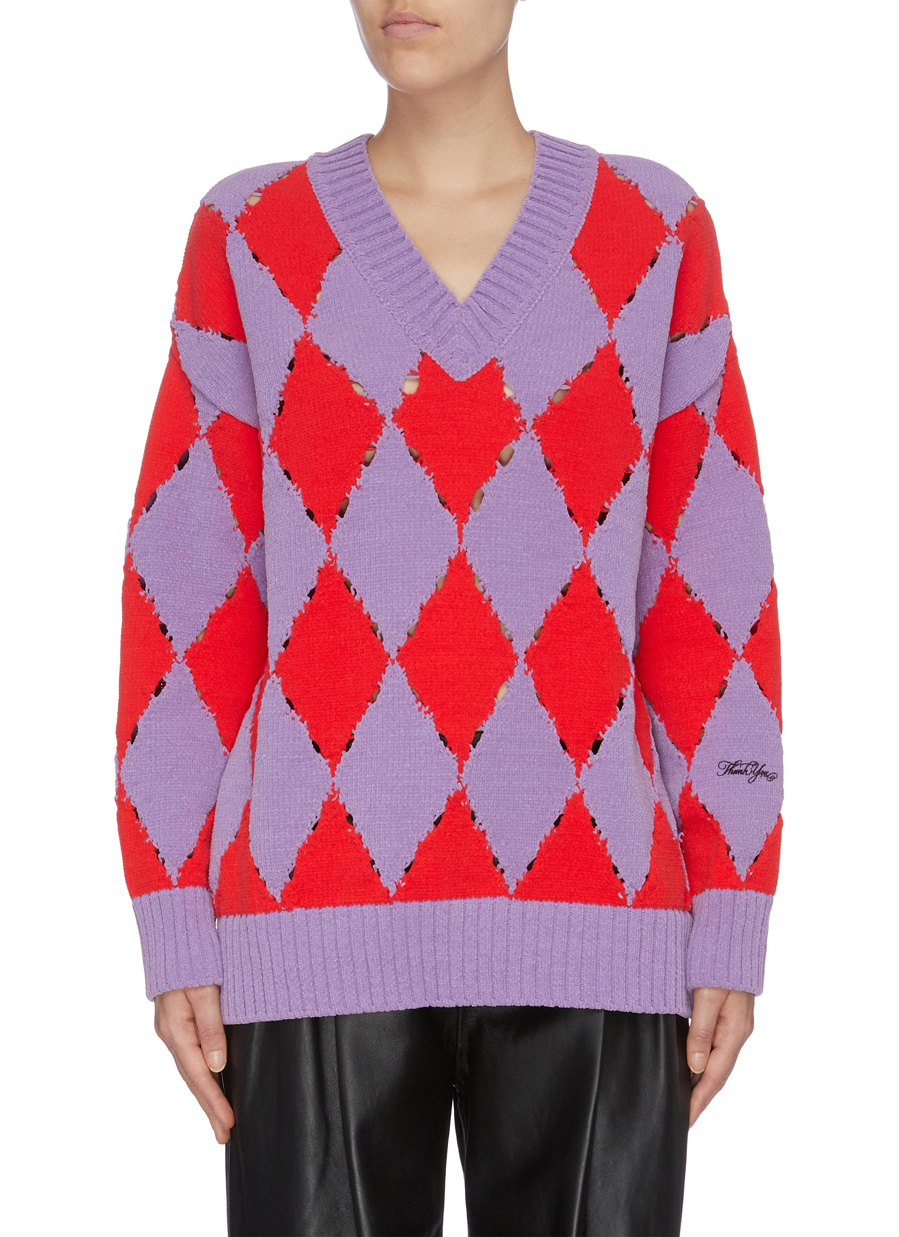 Diamond patchwork V-neck sweater by Philosophy Di Lorenzo Serafini