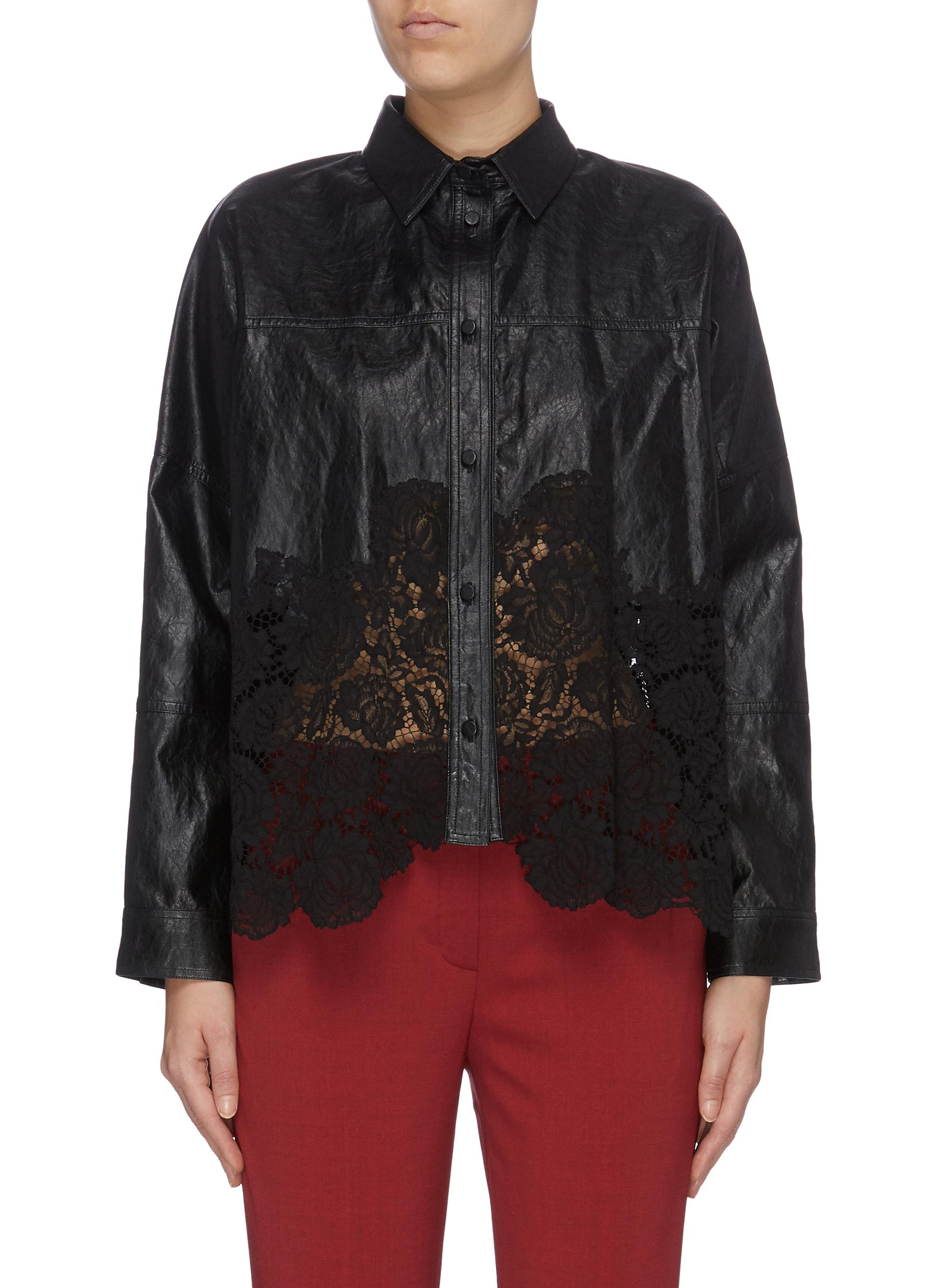 Scalloped floral lace panel faux leather shirt by Philosophy Di Lorenzo Serafini