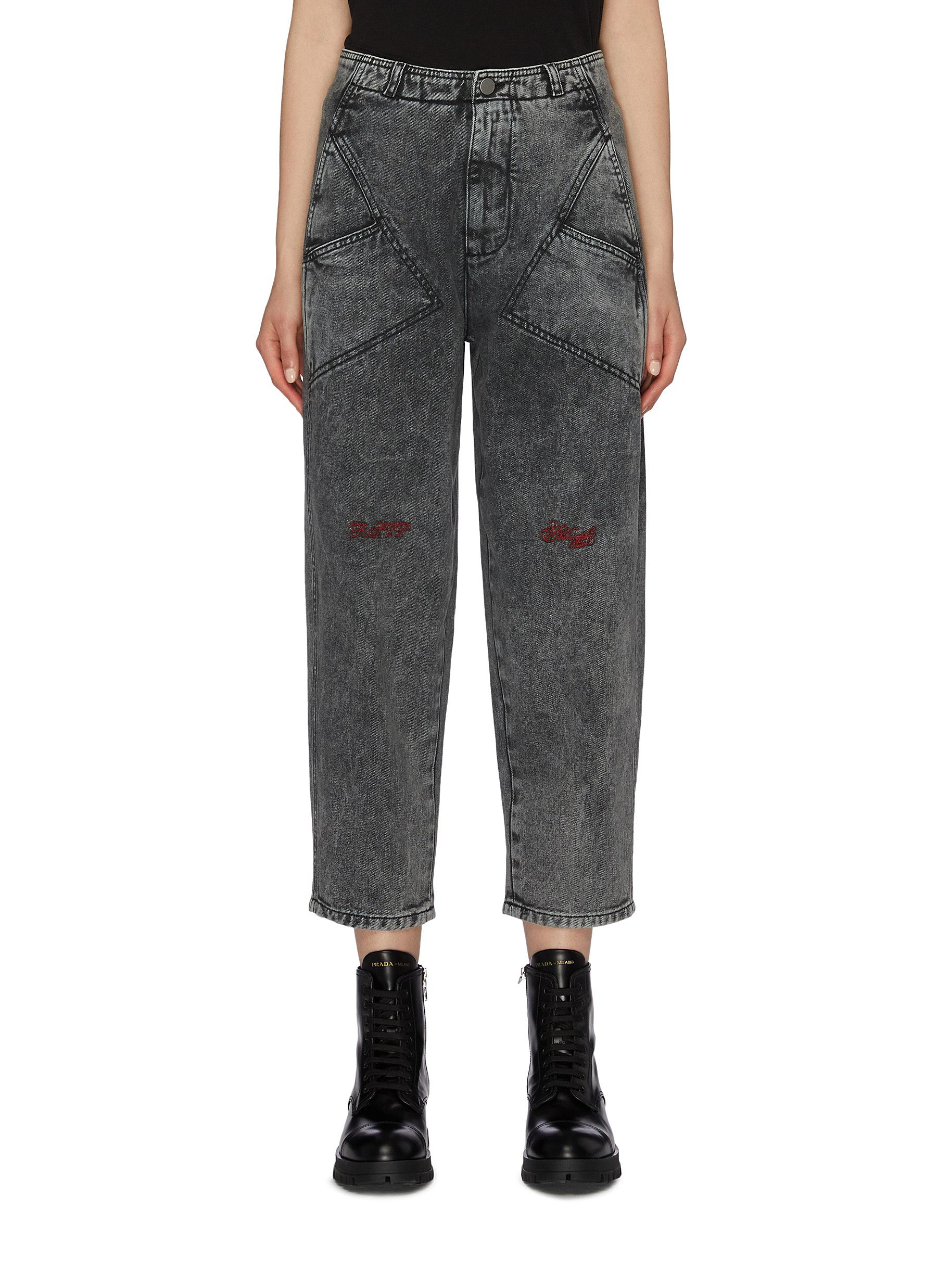 Panelled pocket slogan logo embroidered cropped jeans by Philosophy Di Lorenzo Serafini