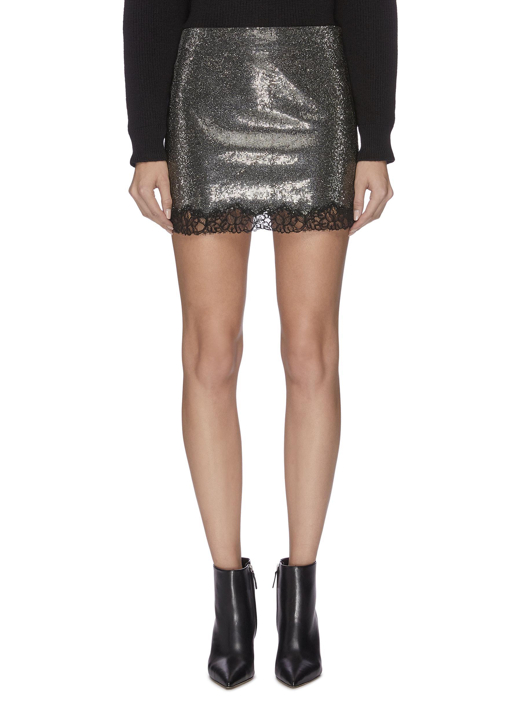 Metallic crepe lace trim mini skirt by Philosophy Di Lorenzo Serafini