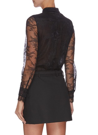 Back View - Click To Enlarge - PHILOSOPHY DI LORENZO SERAFINI - Belted sheer sleeve panelled lace shirt mini dress