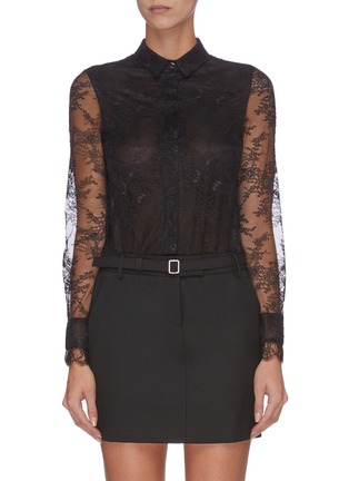 Main View - Click To Enlarge - PHILOSOPHY DI LORENZO SERAFINI - Belted sheer sleeve panelled lace shirt mini dress