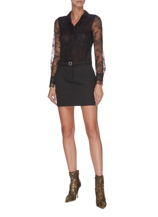 Figure View - Click To Enlarge - PHILOSOPHY DI LORENZO SERAFINI - Belted sheer sleeve panelled lace shirt mini dress