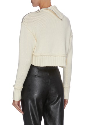 Back View - Click To Enlarge - PHILOSOPHY DI LORENZO SERAFINI - Cropped roll neck zip shoulder pipe seam knit top